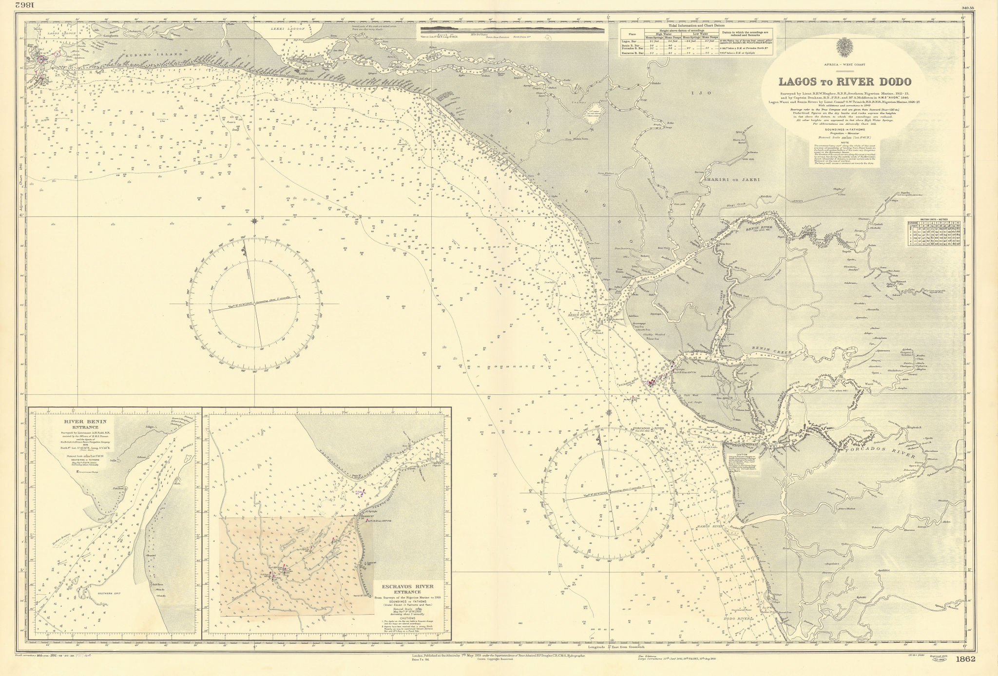 Nigeria W coast Lagos-Dodo Benin Escravos Rivers ADMIRALTY chart 1929 (1957) map