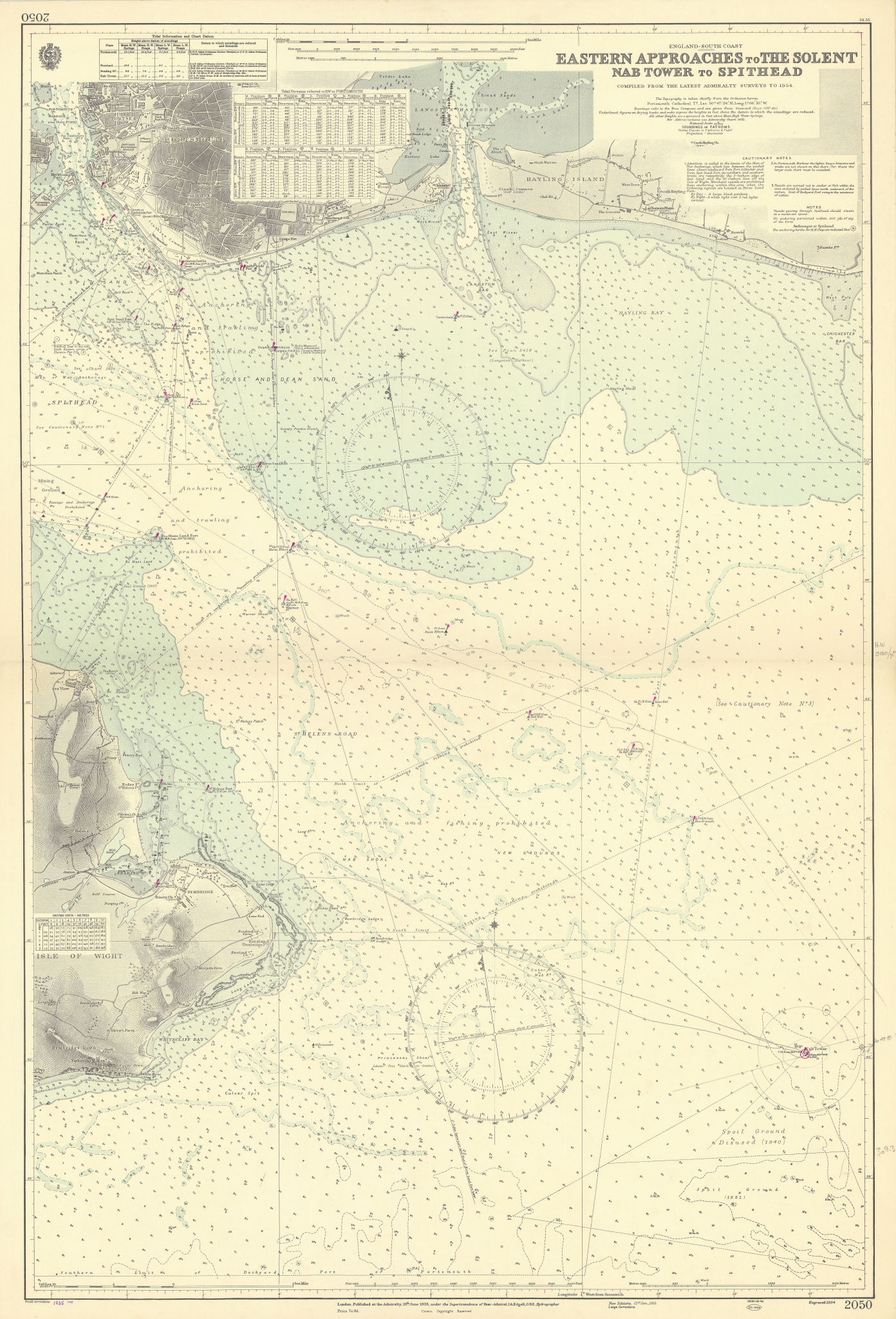 Solent eastern approach Spithead Portsmouth ADMIRALTY sea chart 1935 (1955) map