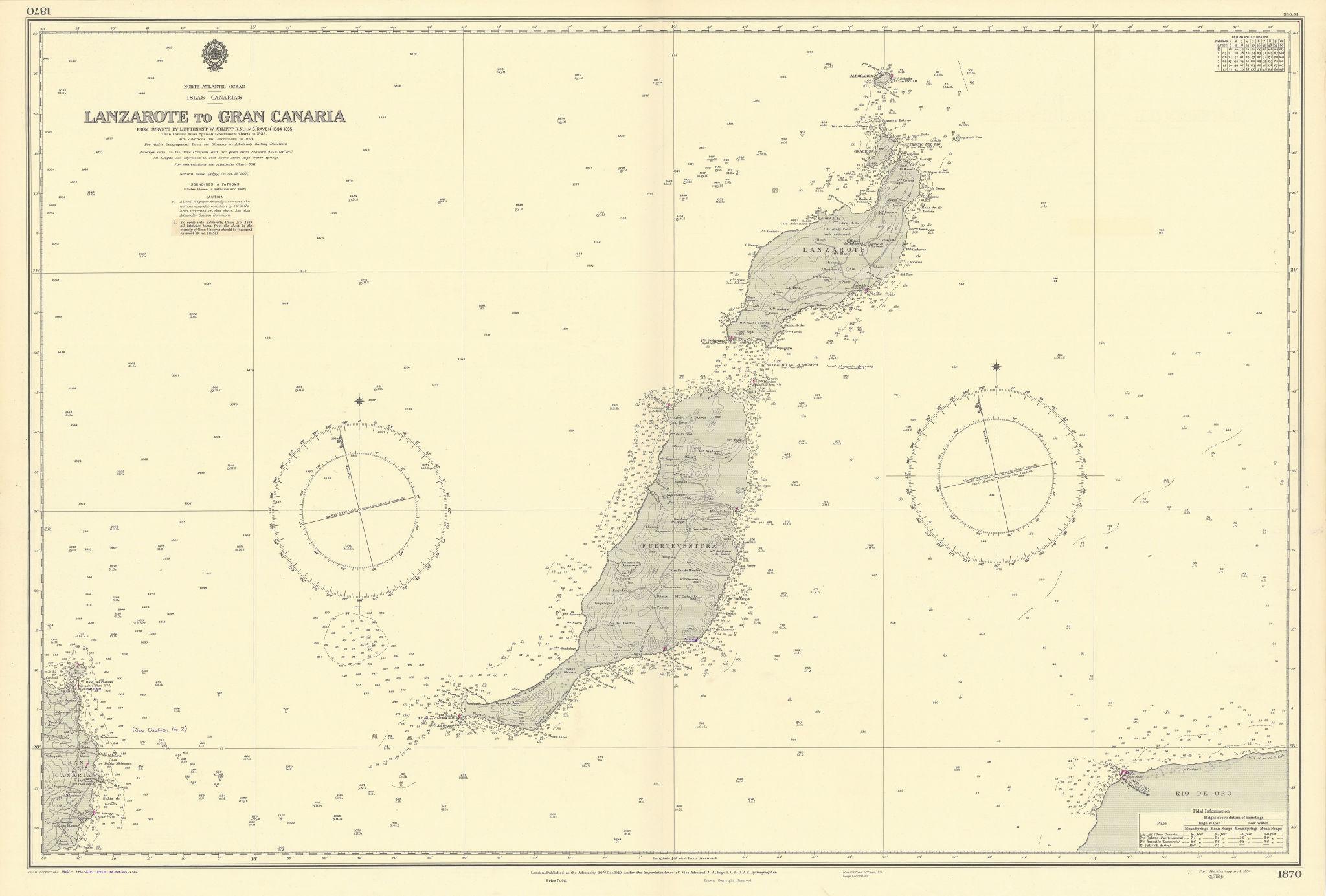 Canarias Lanzarote Fuerteventura Canary Islands ADMIRALTY chart 1940 (1956) map