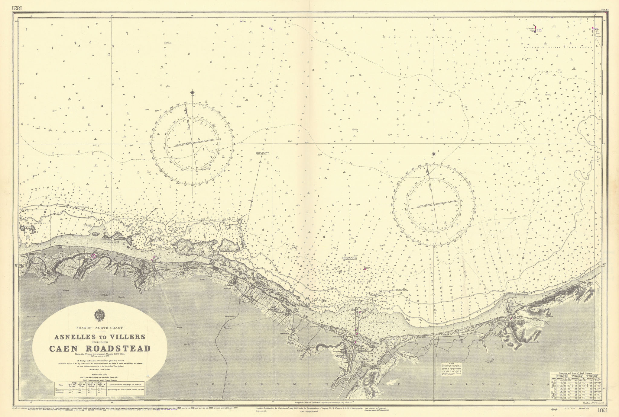 Normandy coast Juno Sword D-Day beaches ADMIRALTY sea chart 1893 (1955) map
