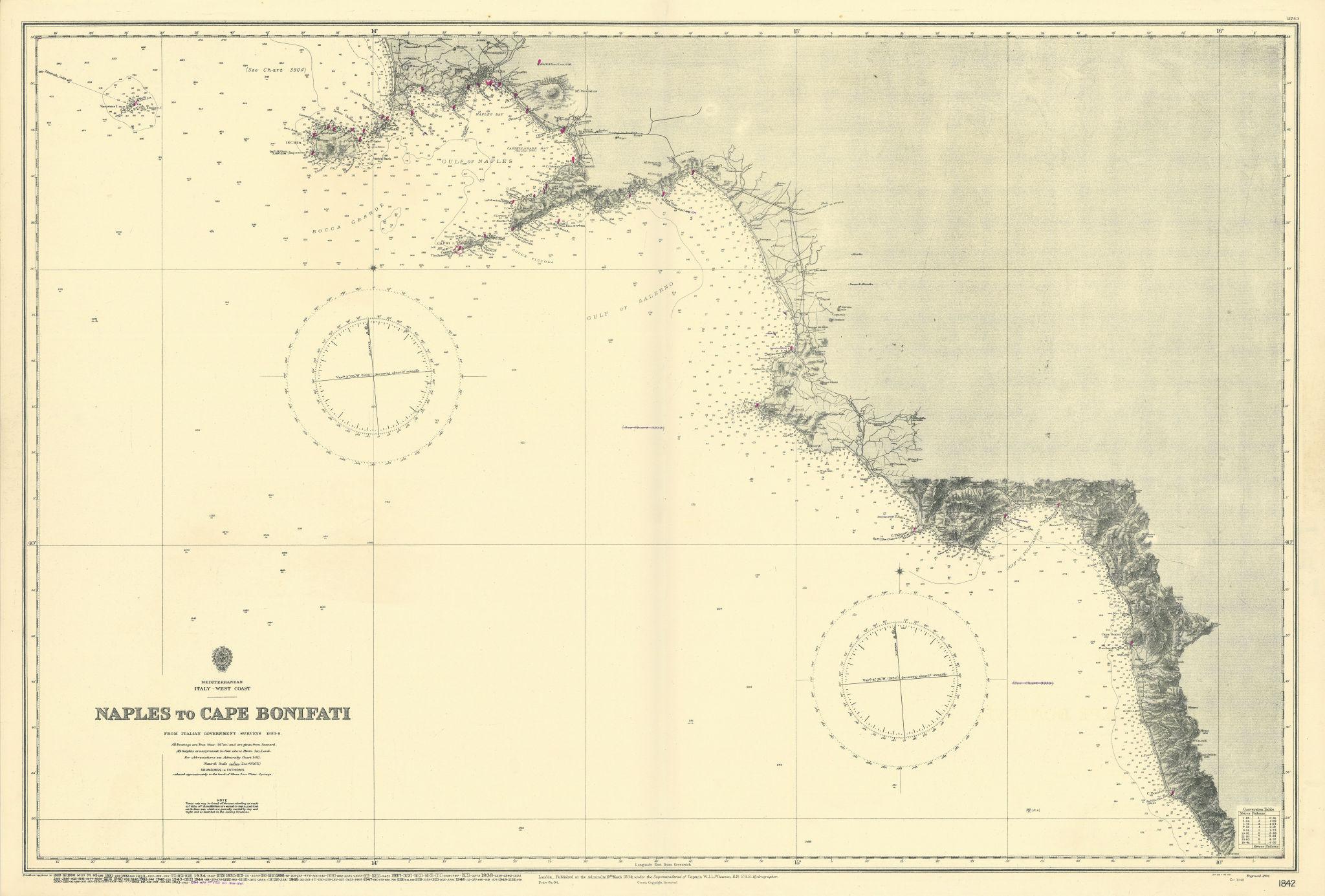 Campania coast. Naples-Cape Bonifati. Italy. ADMIRALTY sea chart 1894 (1955) map