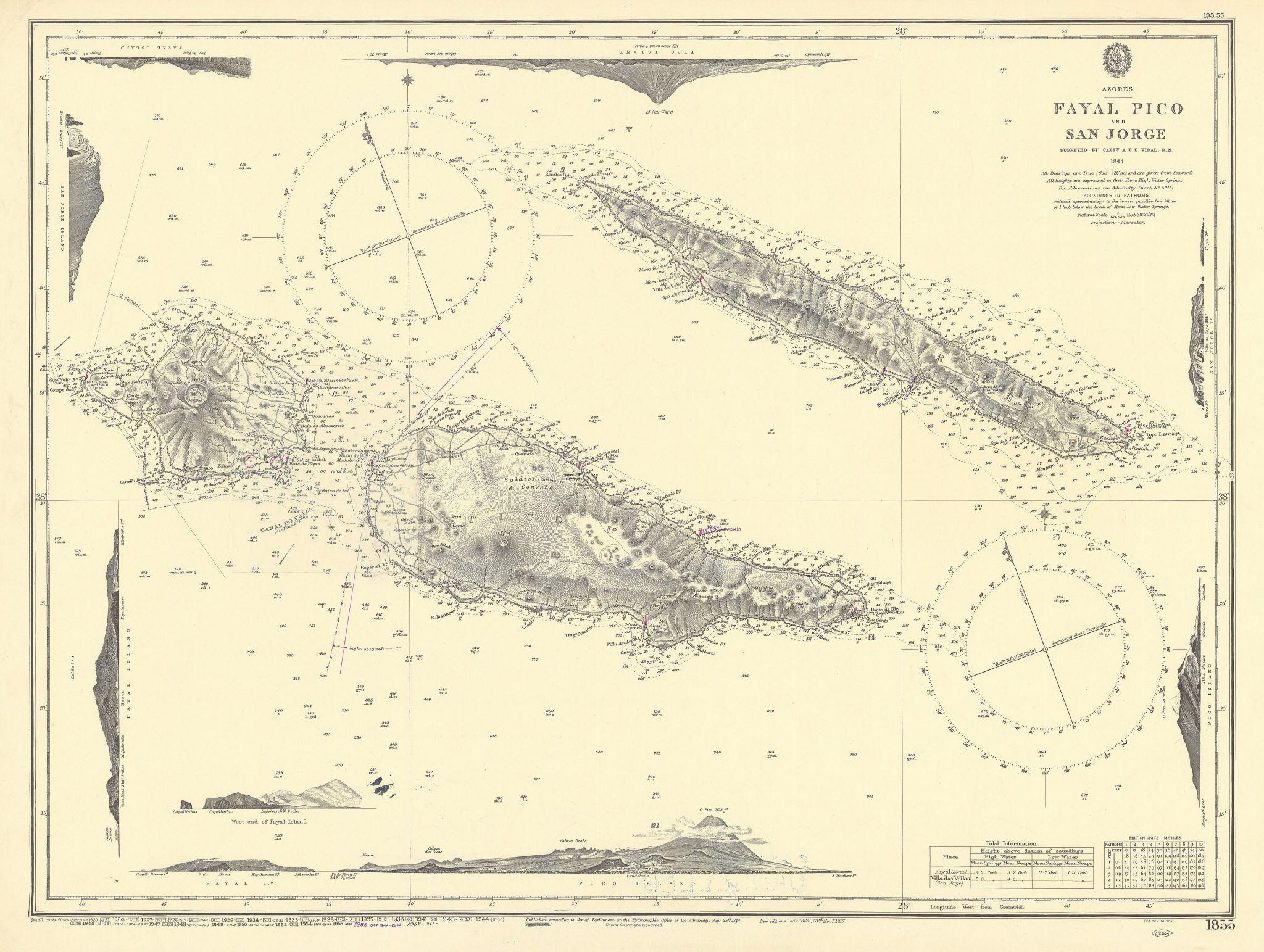 Azores - Fayal Pico & San Jorge. ADMIRALTY sea chart 1849 (1957) old map