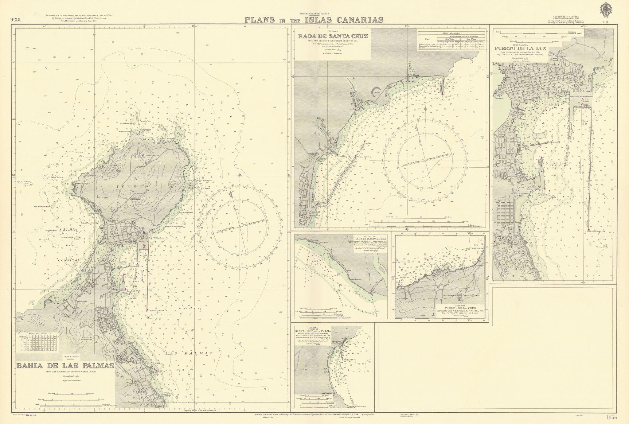 Canary Islands ports Tenerife Gran Canaria Palma ADMIRALTY chart 1940 (1954) map