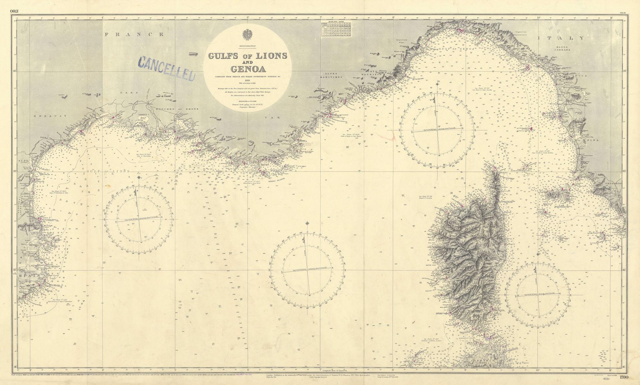 Gulf of Lion Ligurian French Italian Rivieras ADMIRALTY chart 1893 (1955) map