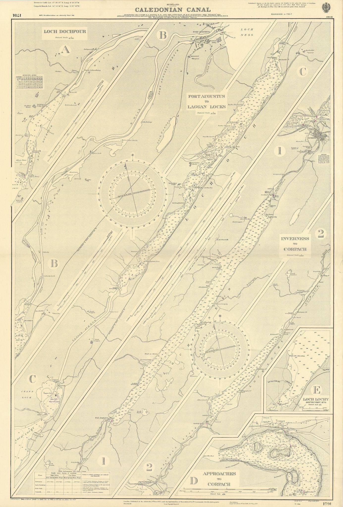 Caledonian Canal Scotland Dochfour Lochy Ness ADMIRALTY chart 1920 (1954) map