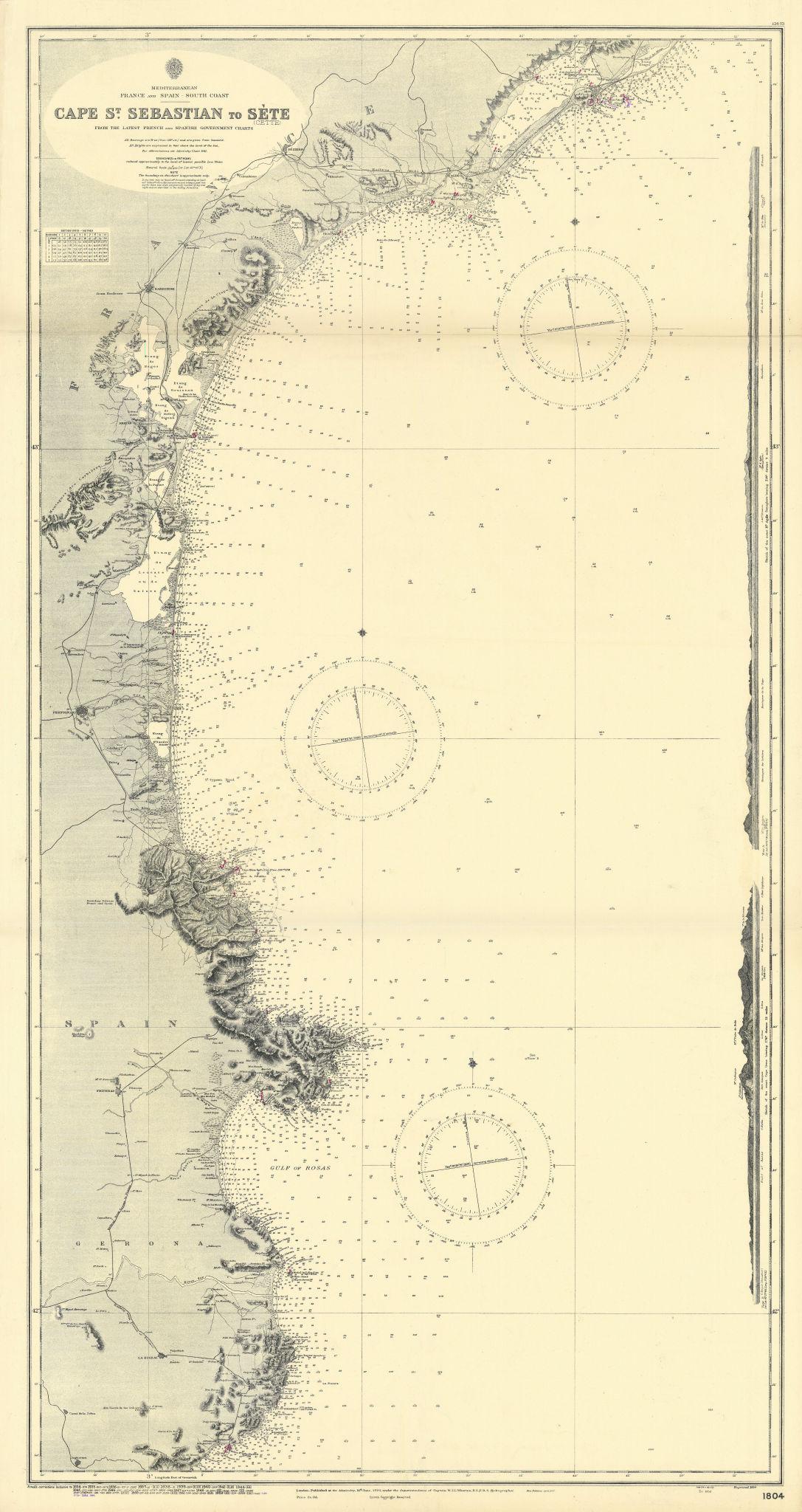 Occitanie North Catalunya coast Palamos-Sète ADMIRALTY sea chart 1894 (1954) map