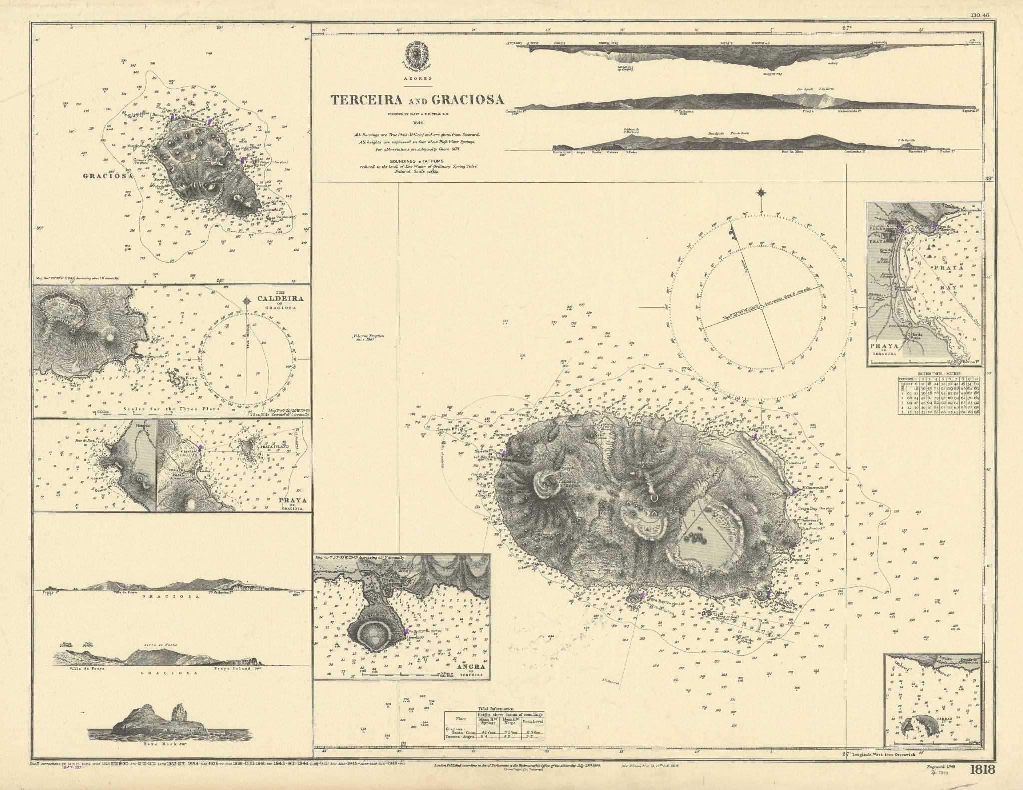 Azores. Terceira & Graciosa islands/harbours ADMIRALTY sea chart 1849 (1947) map