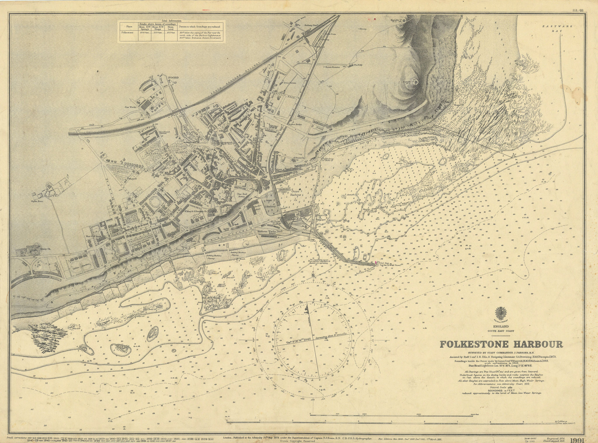 Folkestone Harbour, Kent. ADMIRALTY sea chart town plan 1874 (1947) old map