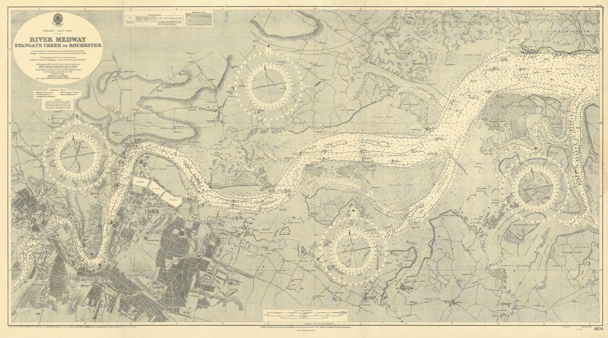 River Medway. Stangate Creek-Rochester Kent. ADMIRALTY sea chart 1941 (1947) map