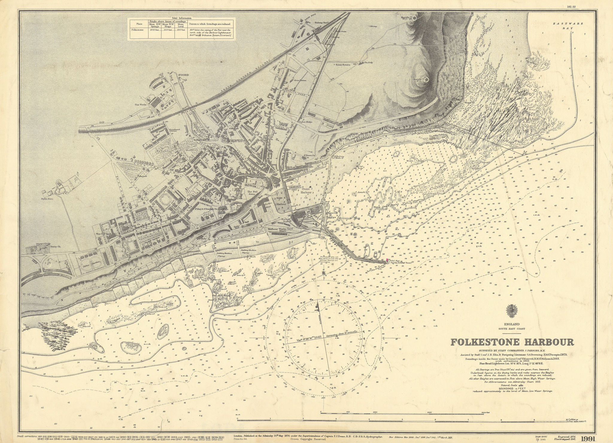 Folkestone Harbour, Kent. ADMIRALTY sea chart town plan 1874 (1953) old map
