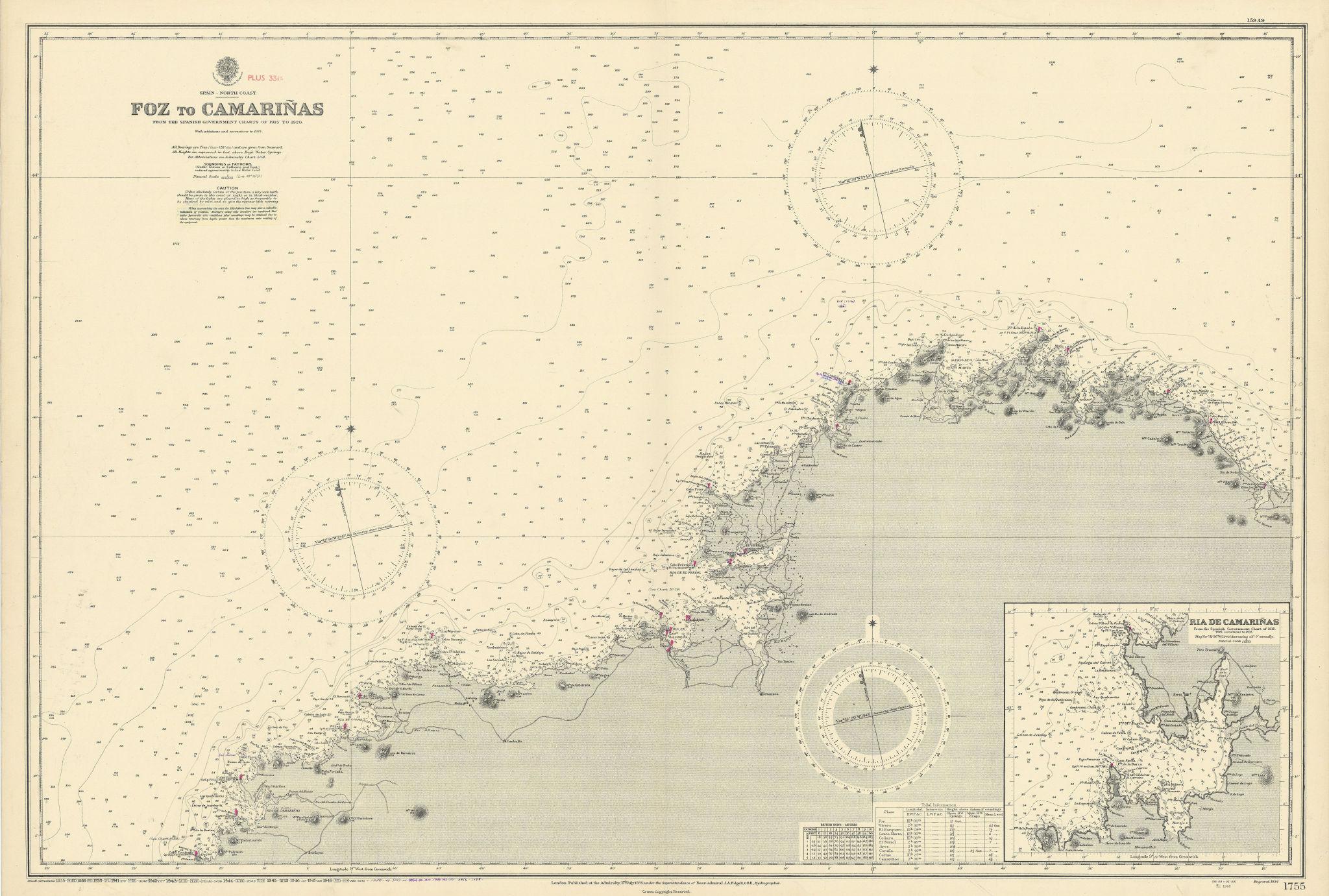 Galicia Spain coast. Foz-Camariñas La Coruña ADMIRALTY sea chart 1935 (1956) map