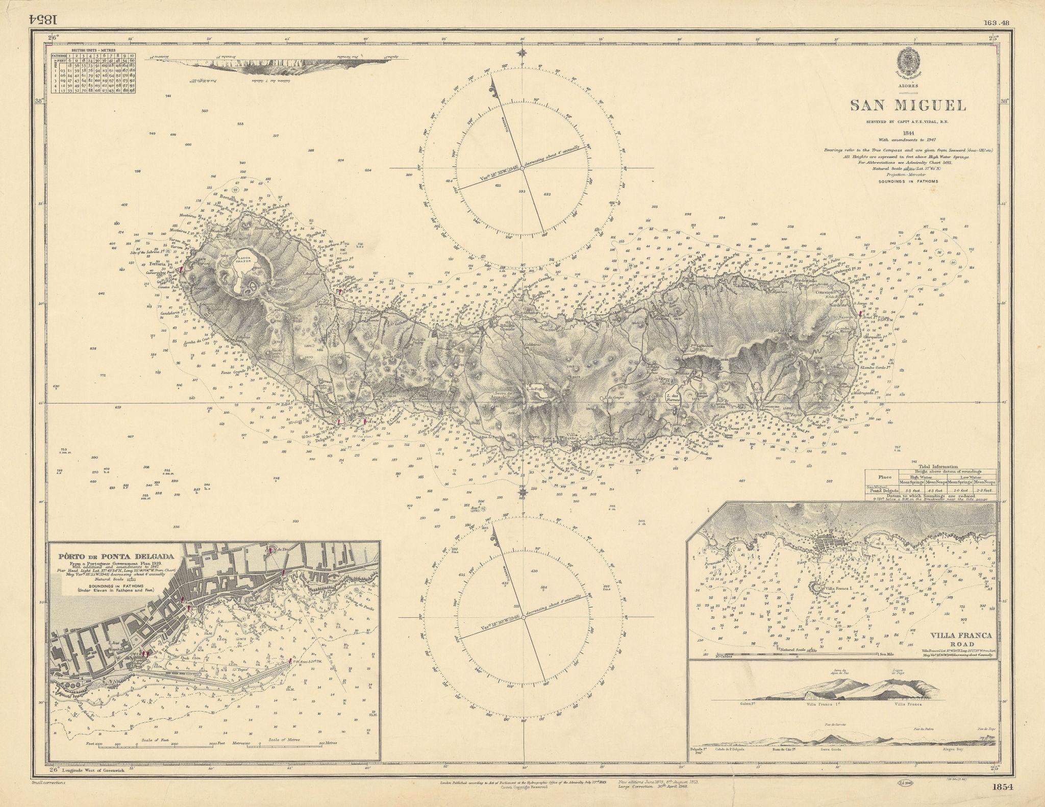 San Miguel Azores Ponta Delgana Villa Franca ADMIRALTY sea chart 1849 (1948) map