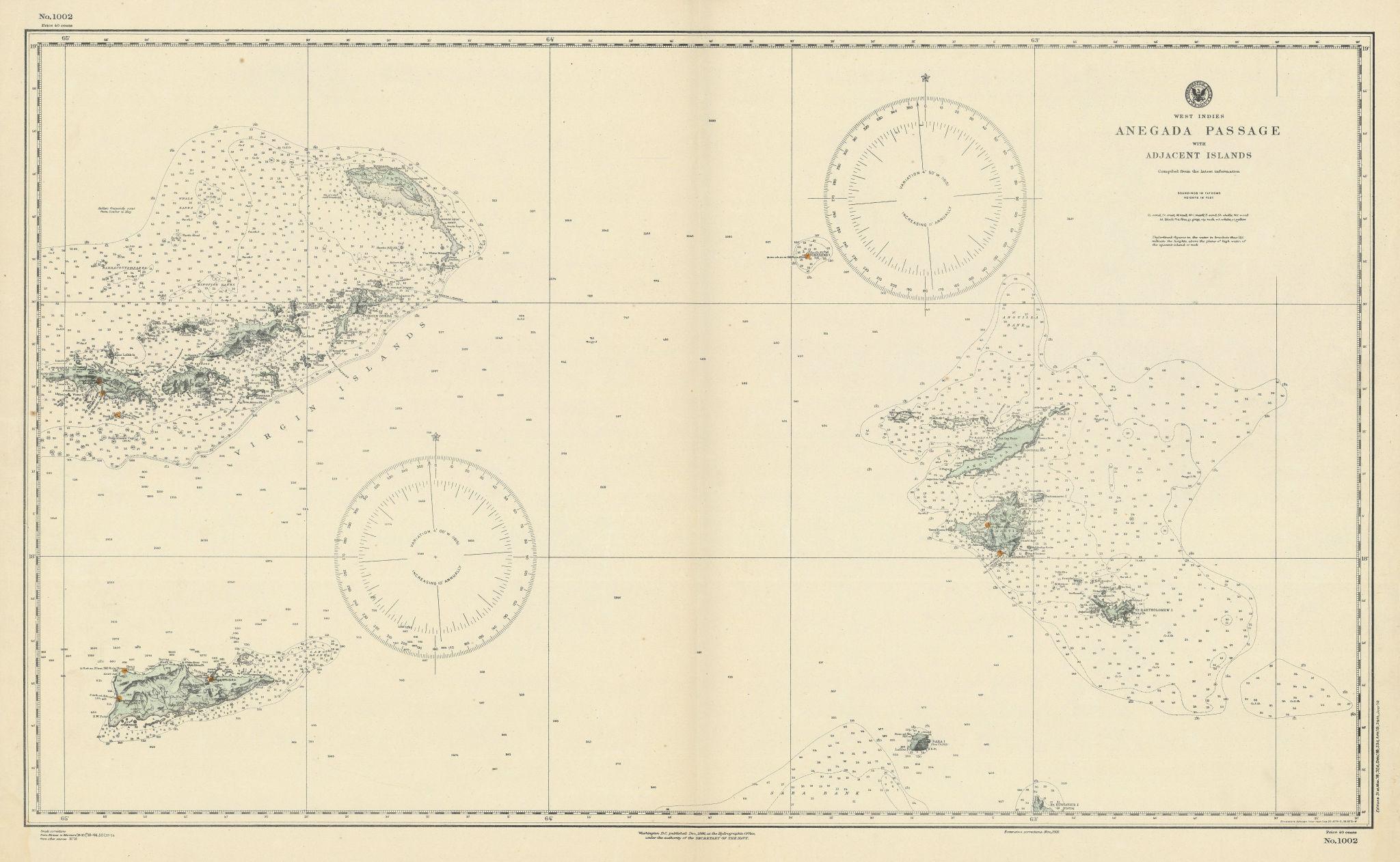Anegada Passage Virgin Islands St Martin Anguilla US Navy chart 1886 (1919) map