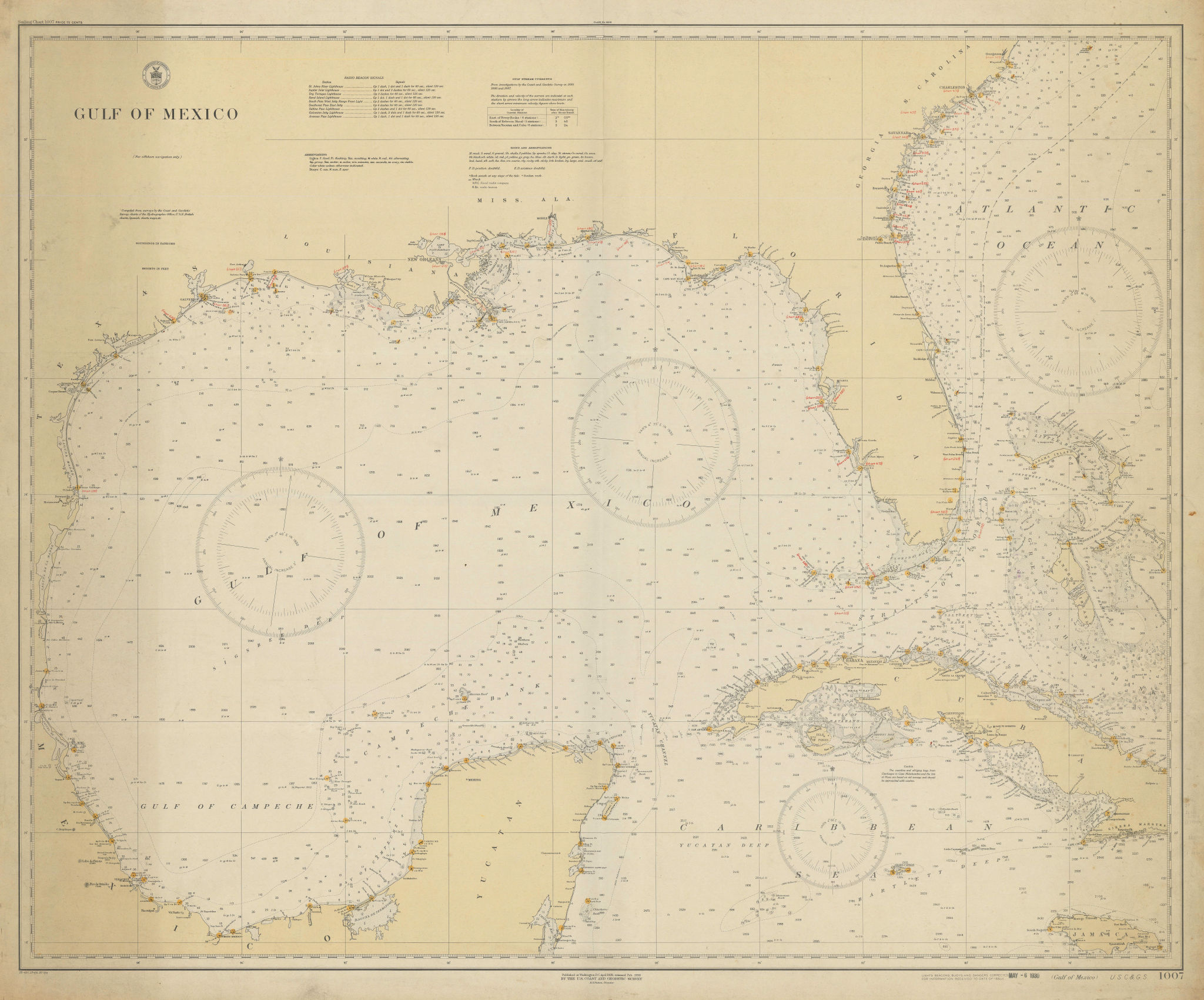 Gulf of Mexico. Caribbean West Indies. USCGS sea chart 1928 (1930) old map