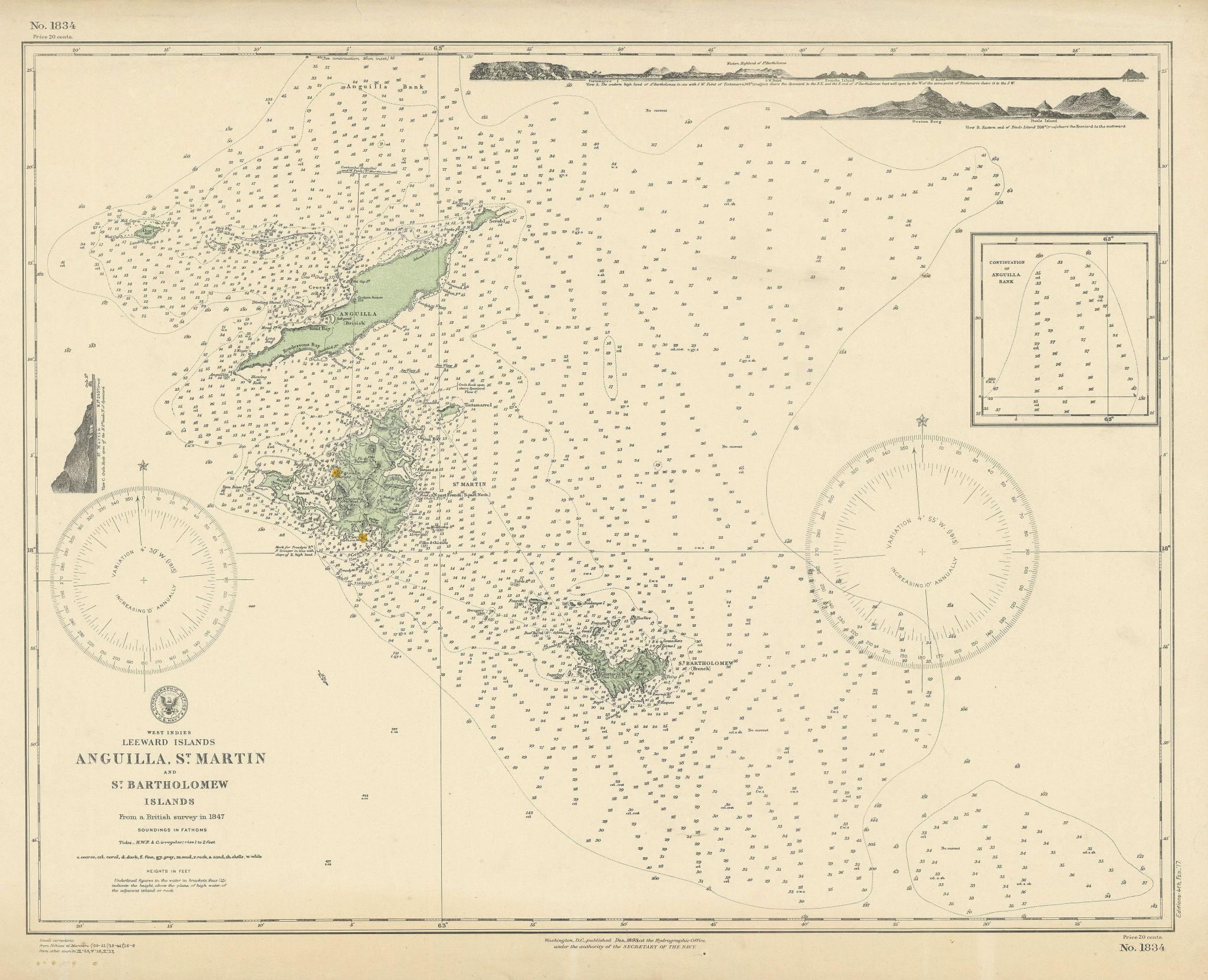 Anguilla St. Martin/Maarten Barts. Caribbean. US Navy sea chart 1899 (1917) map