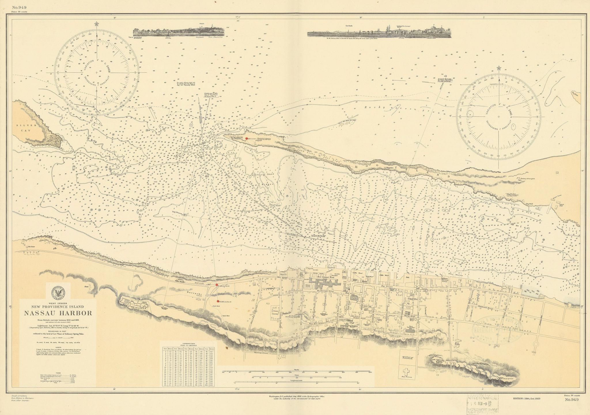 Nassau Harbour New Providence Bahamas US Navy chart town plan 1885 (1924) map