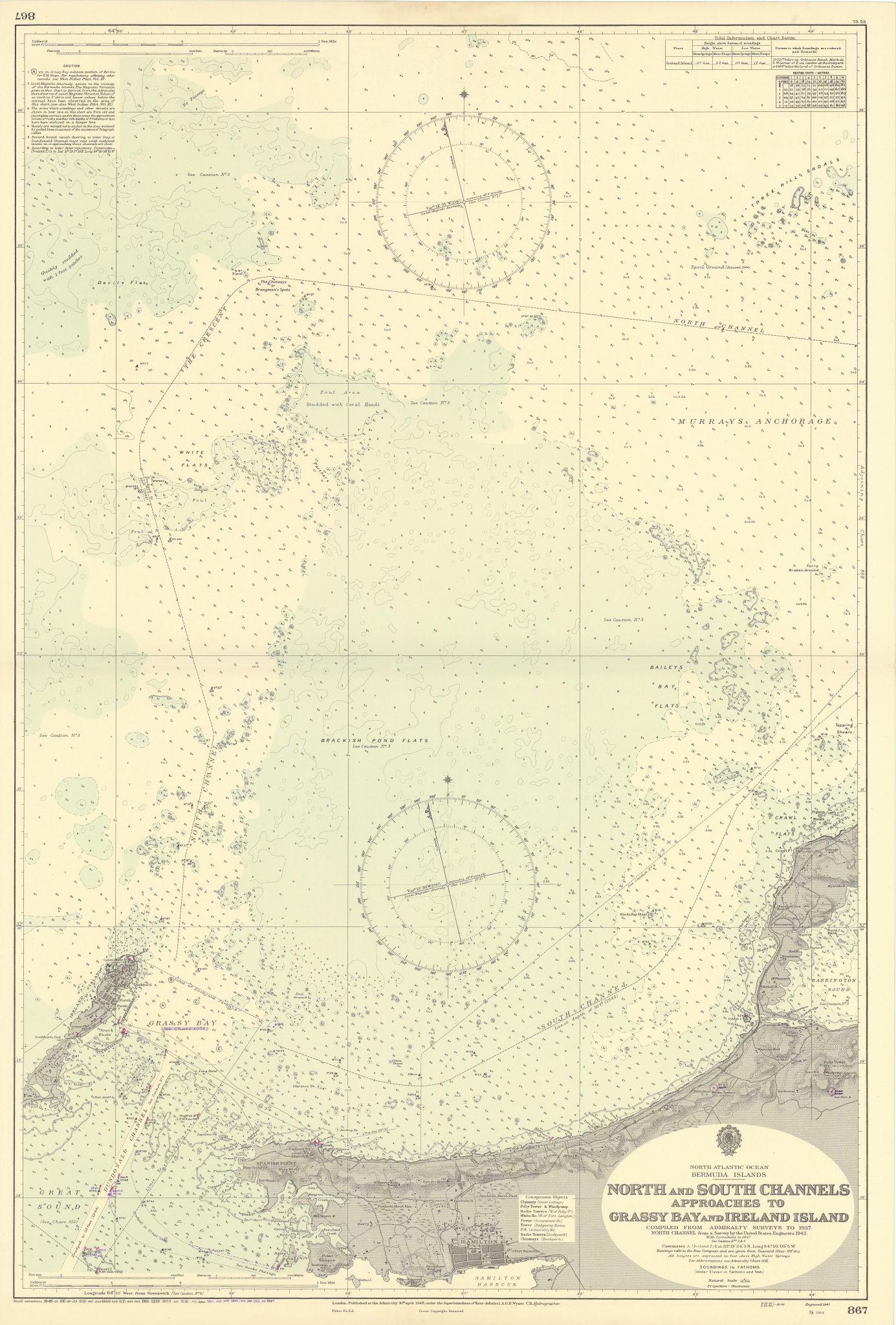 Bermuda Hamilton Grassy Bay approach North Shore ADMIRALTY chart 1948 (1956) map