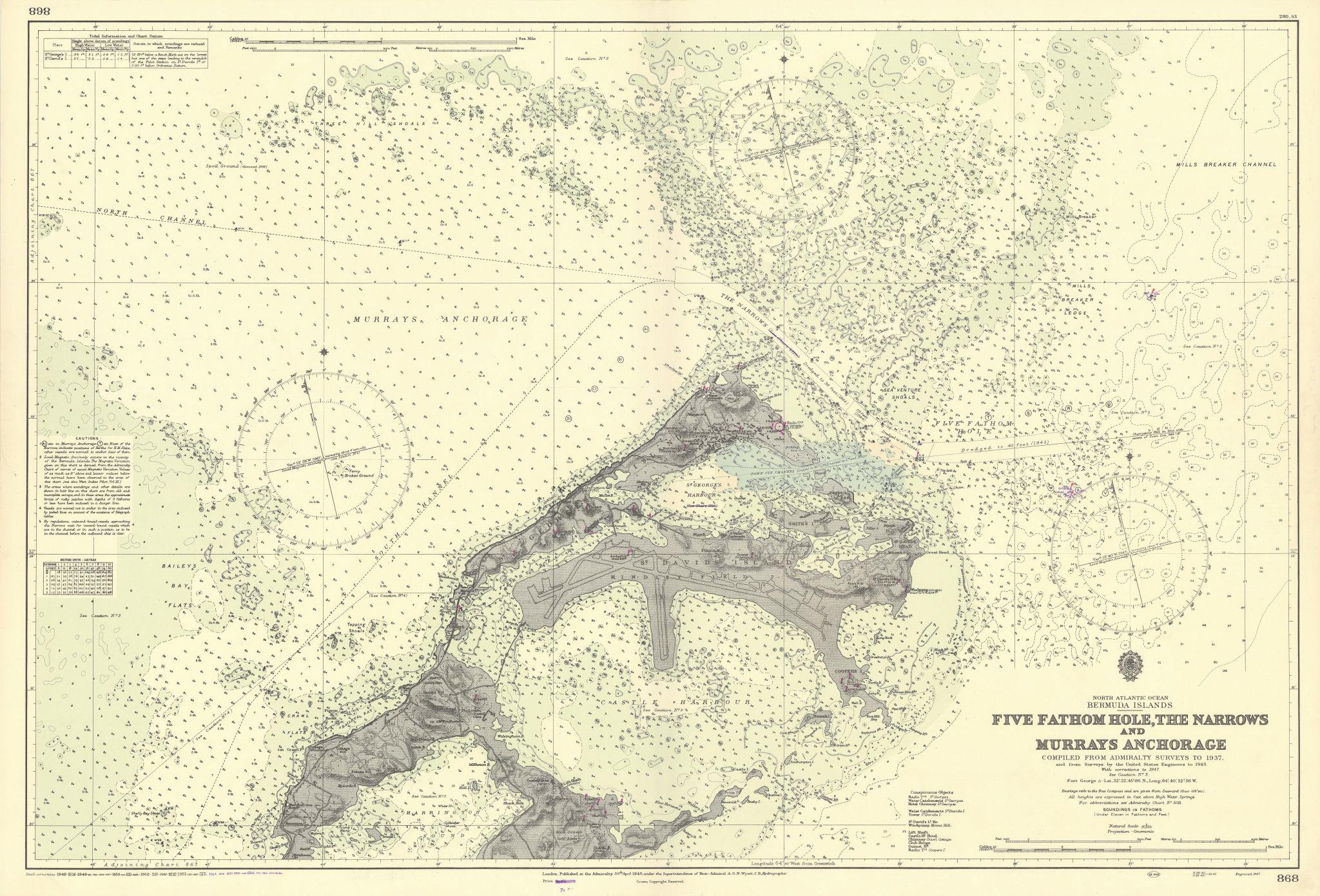 Bermuda 5 Fathom Hole Narrows Murrays Anchorage ADMIRALTY chart 1948 (1956) map