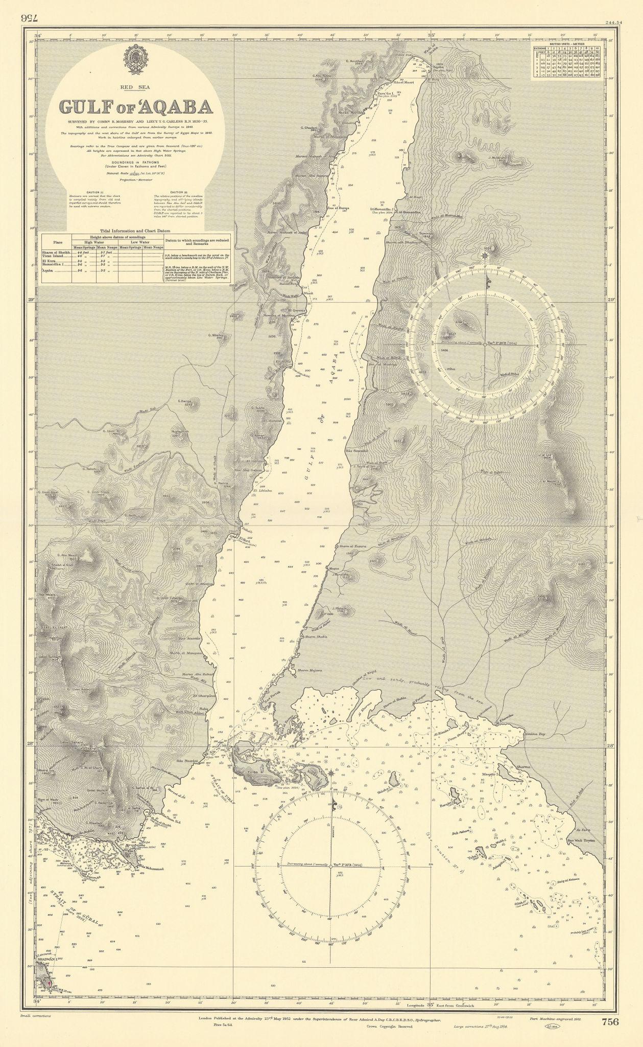 Gulf of Aqaba Red Sea Egypt Sharm el Sheikh. ADMIRALTY sea chart 1952 (1954) map