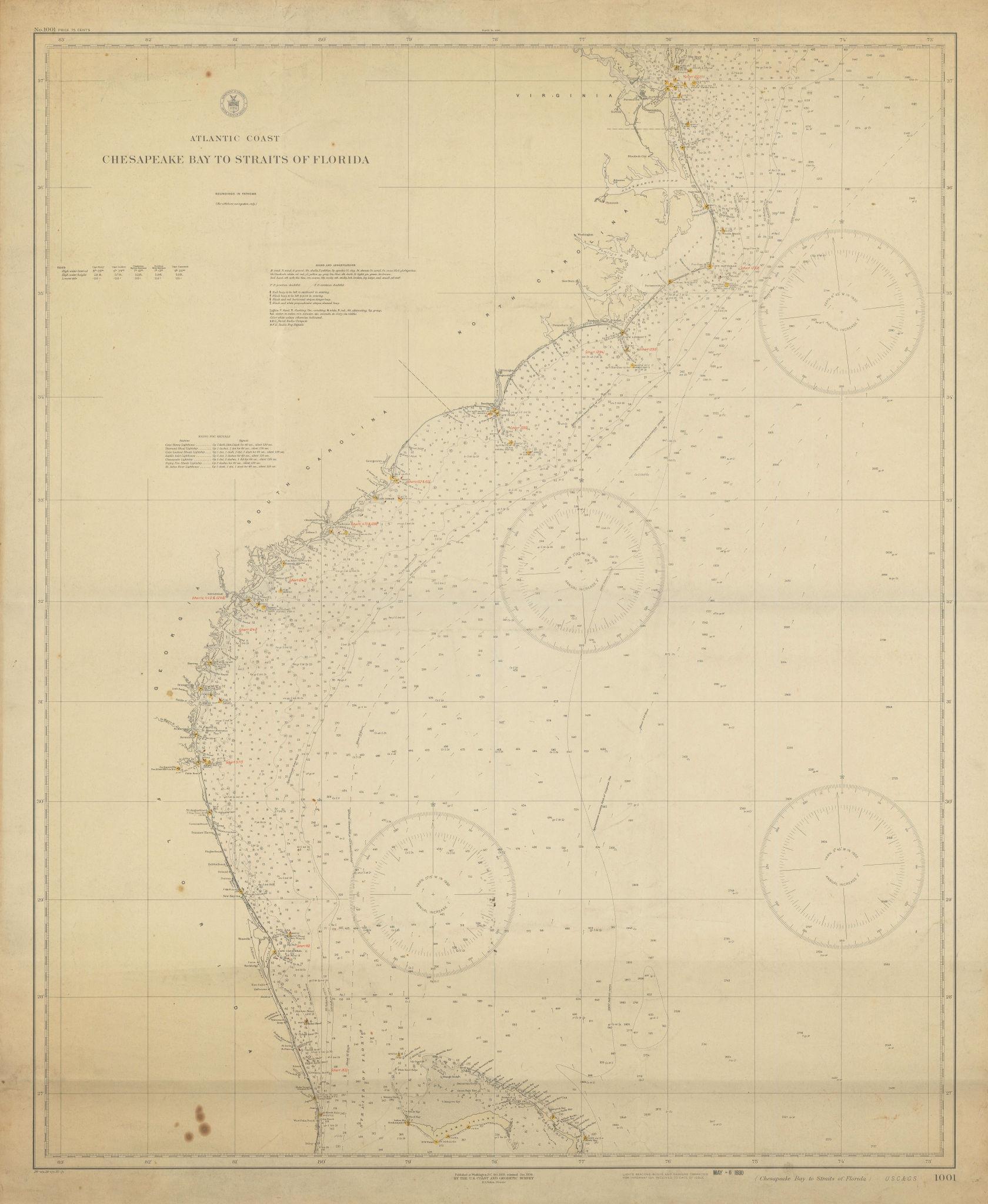 USA Atlantic Coast Chesapeake Bay-Florida Strait USCGS sea chart 1928 (1930) map