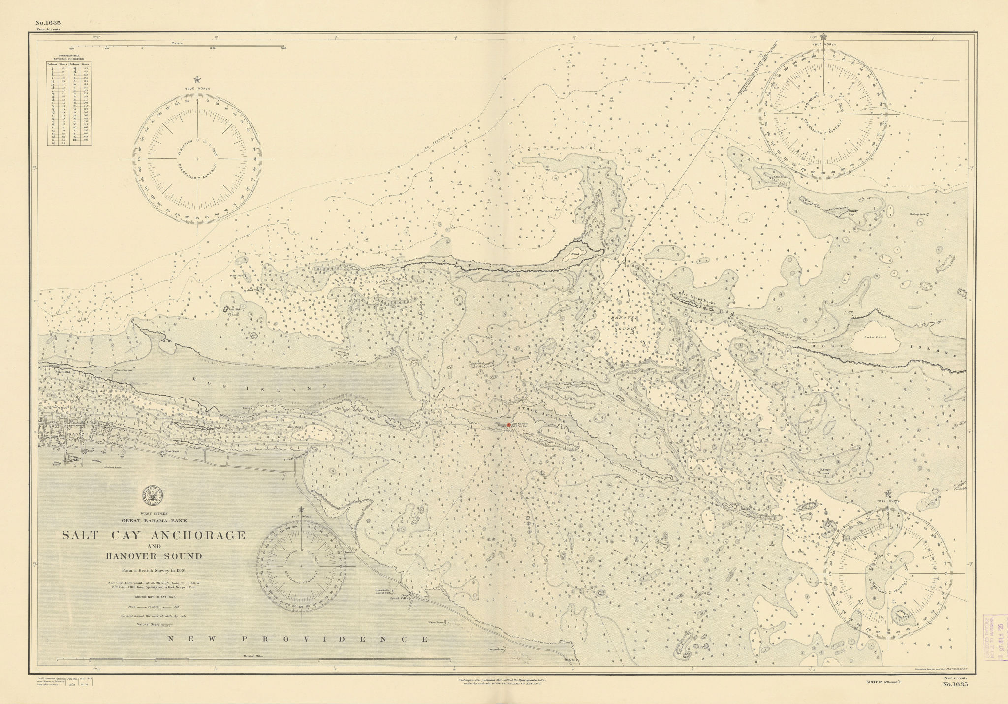 Nassau New Providence Paradise Island Bahamas. US Navy sea chart 1898 (1925) map