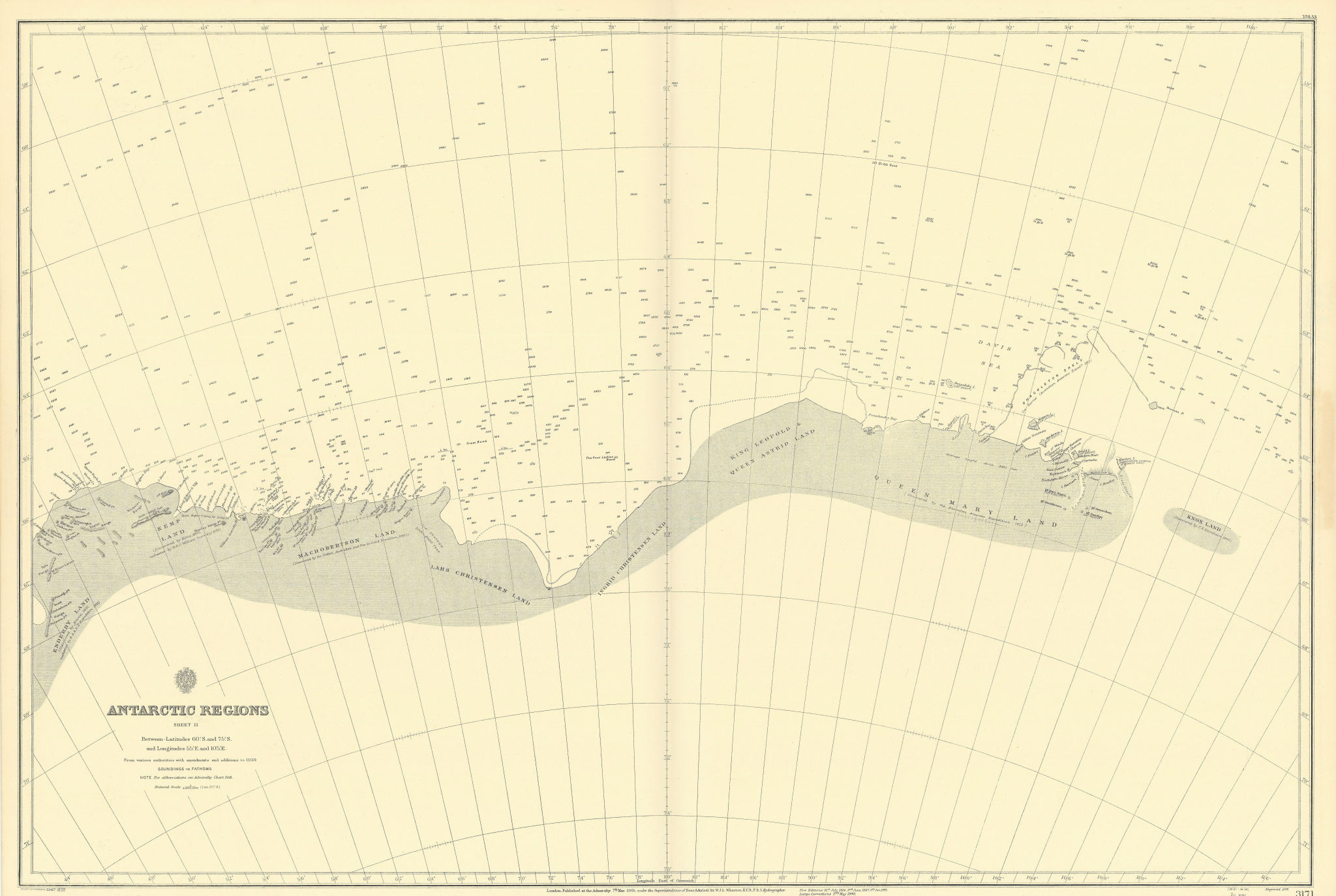 Antarctica 60-75S 55-105E Knox Kemp Enderby Land ADMIRALTY chart 1901 (1947) map
