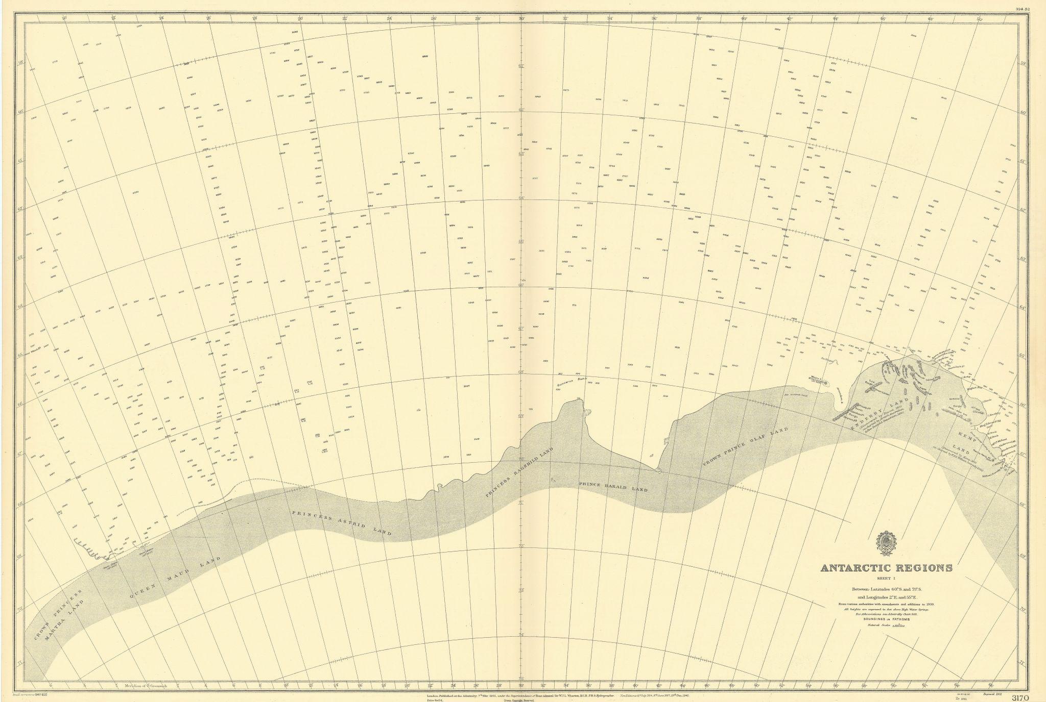 Antarctica 60-75˚S 2-55˚E Enderby Kemp Maud Land ADMIRALTY chart 1901 (1947) map
