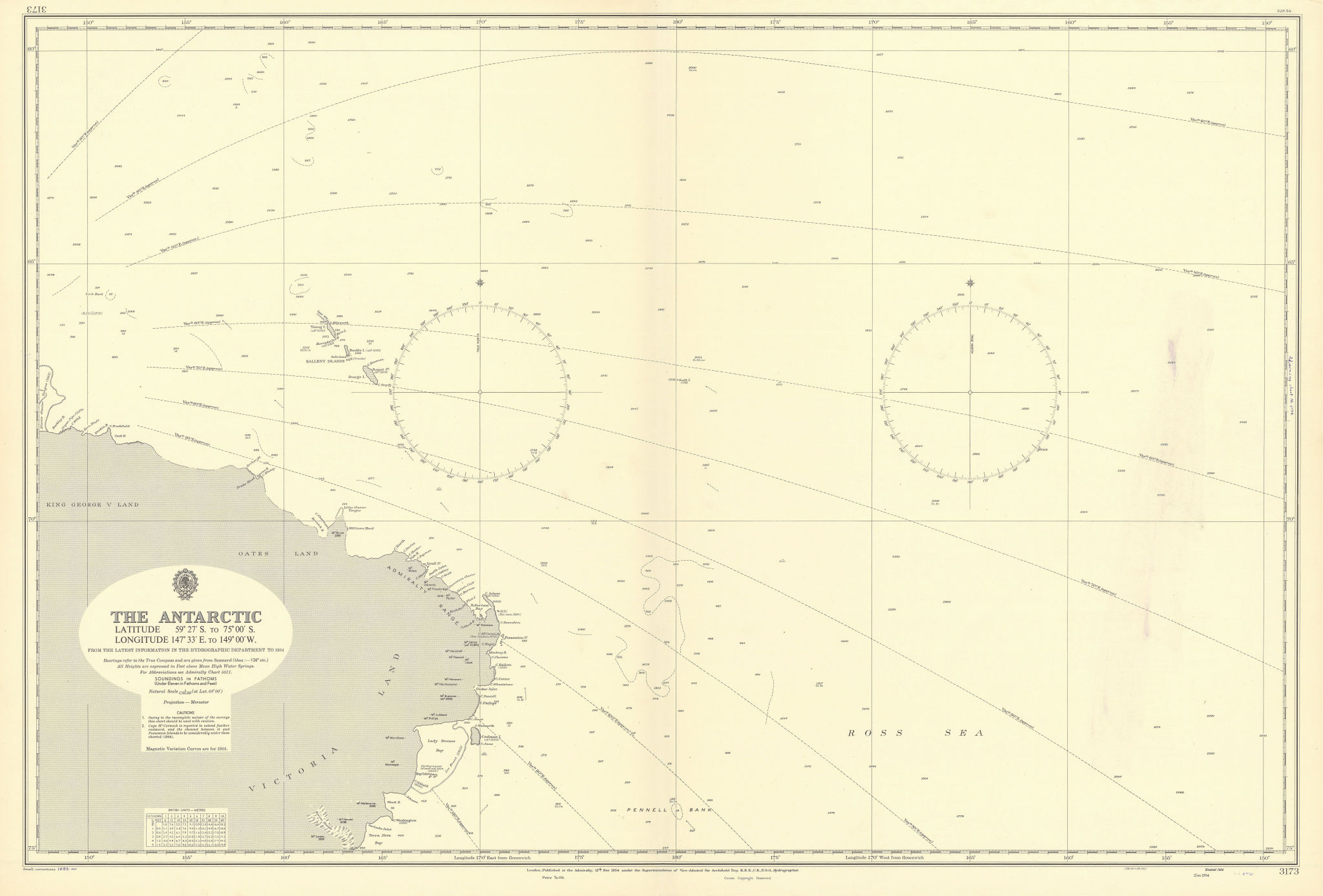 Antarctica 59-75S 147E-149W Ross Victoria Land ADMIRALTY chart 1954 (1955) map