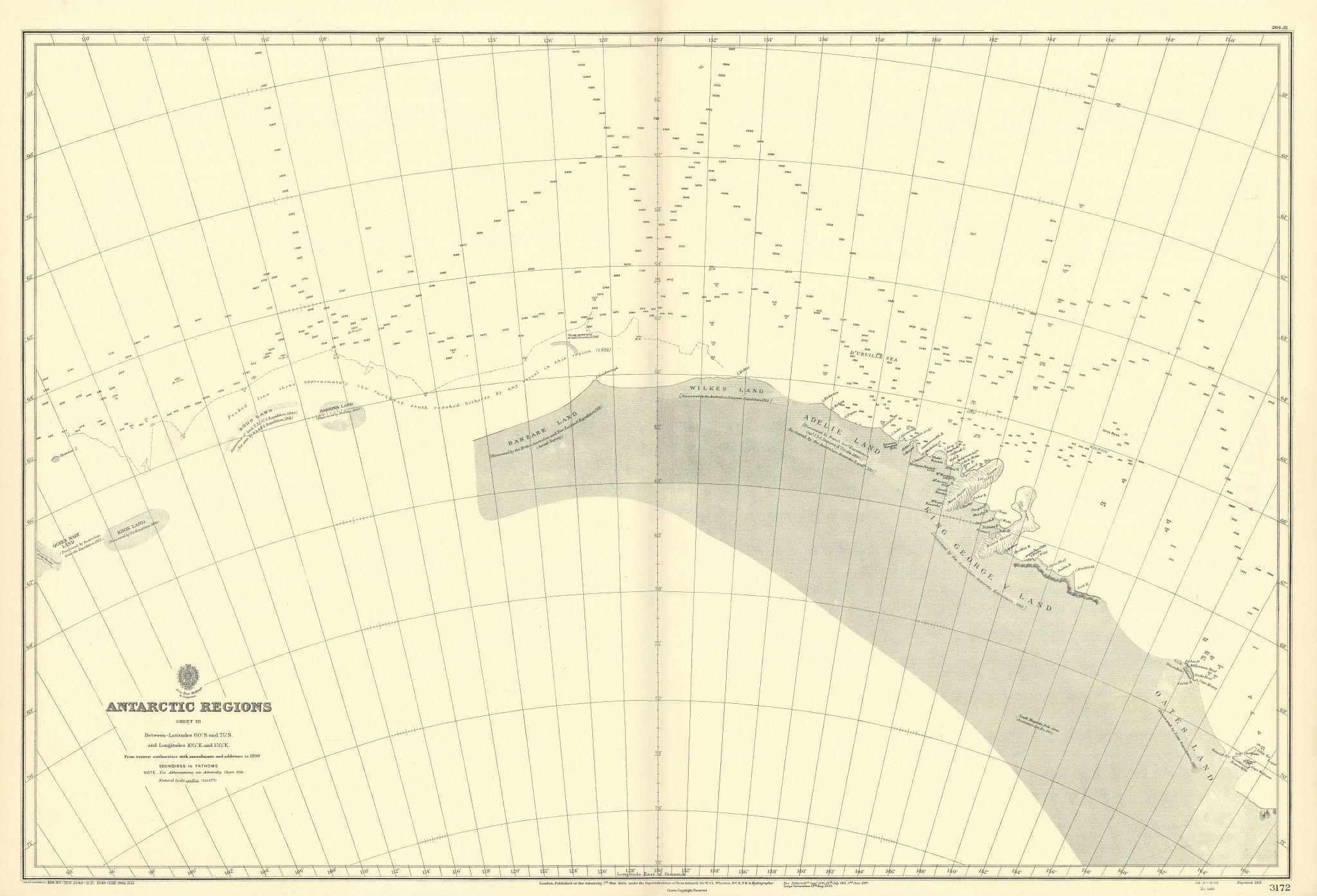 Antarctica 60-75˚S 105-155˚E Banzare Oates Land ADMIRALTY chart 1901 (1951) map
