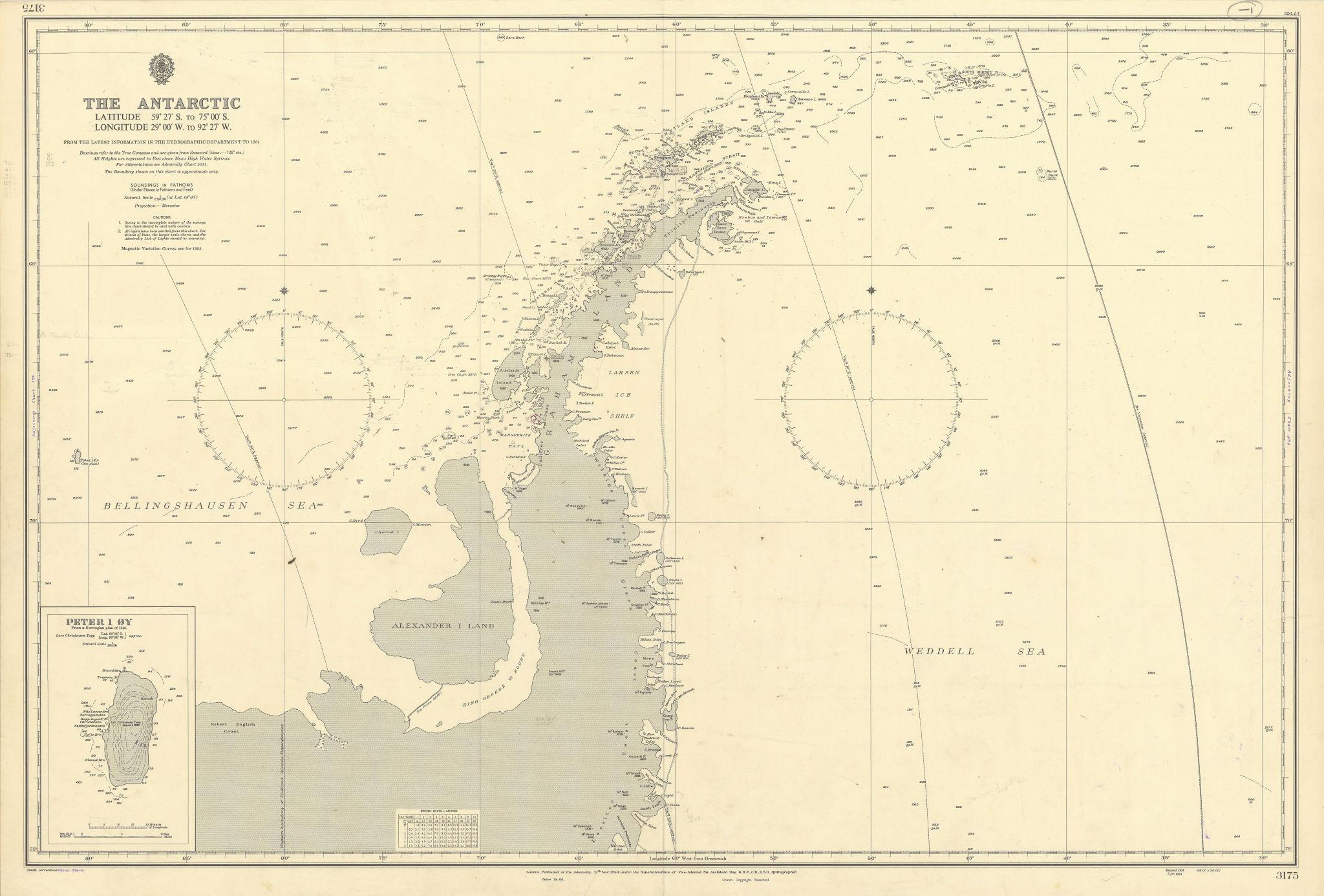 Antarctic Peninsula 59-75˚S 29-92˚W Graham Land ADMIRALTY chart 1954 (1956) map