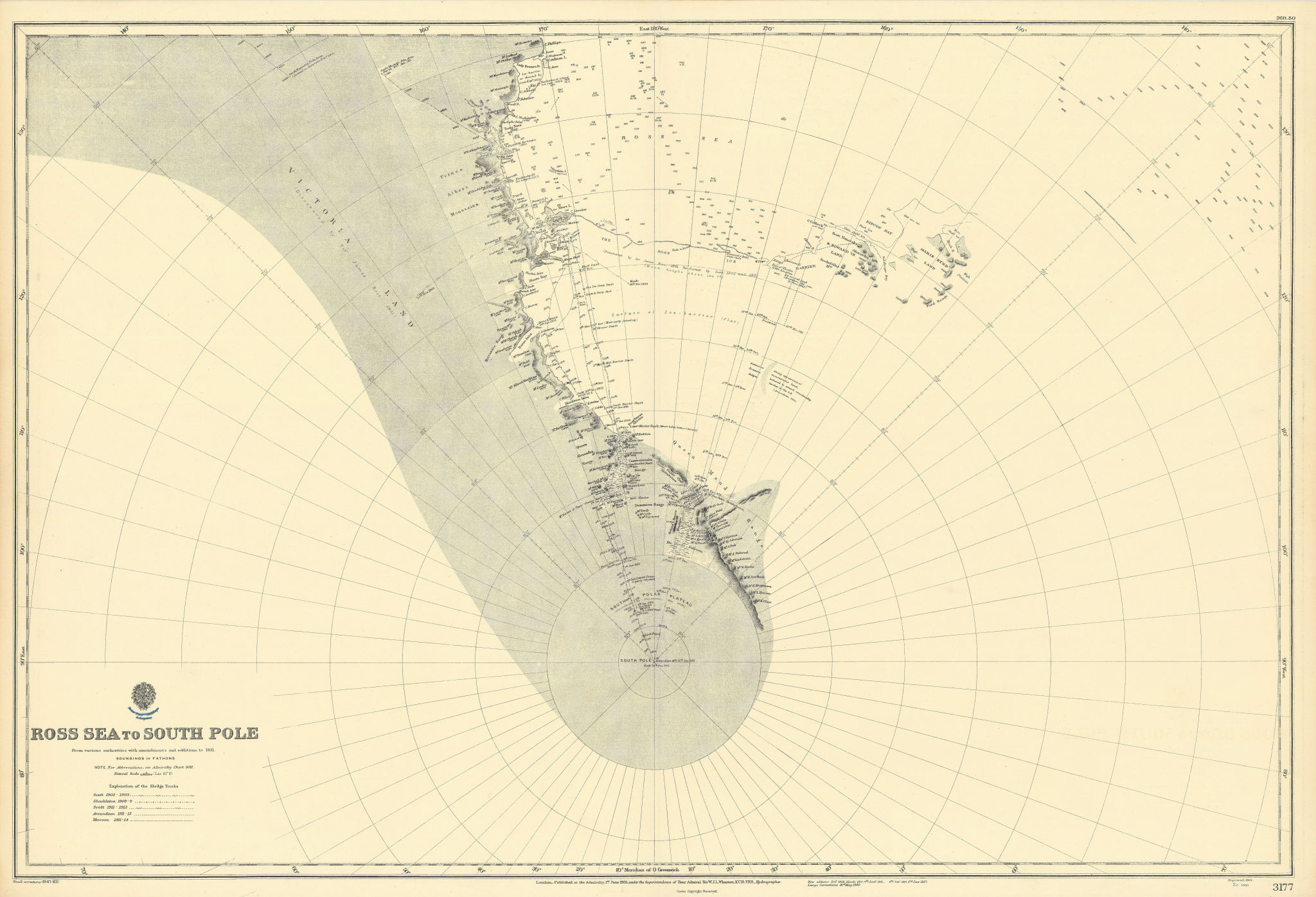 Ross Sea-South Pole Antarctica Victoria Land ADMIRALTY sea chart 1901 (1947) map