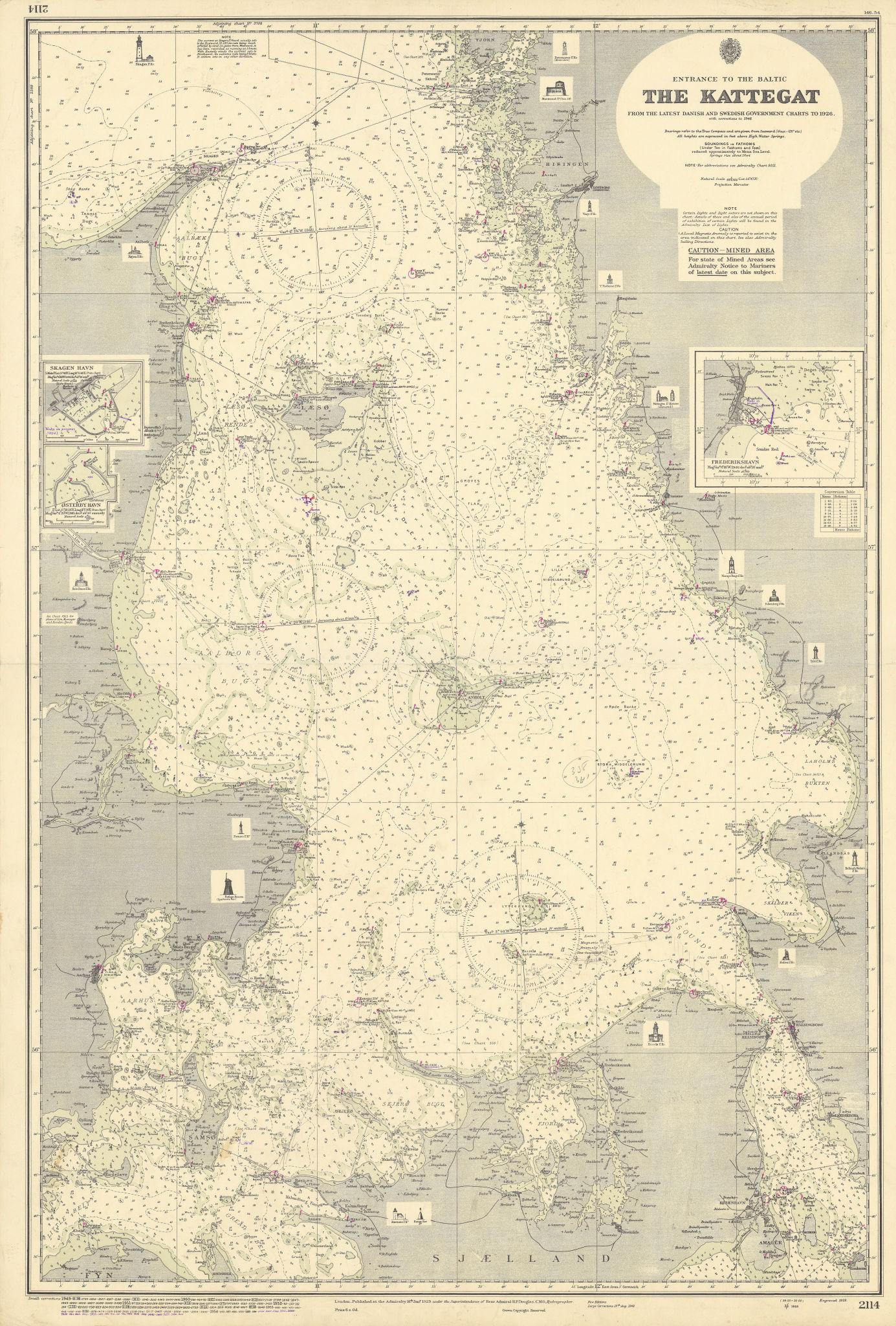 Kattegat Baltic ports lighthouses Denmark Sweden ADMIRALTY chart 1929 (1955) map