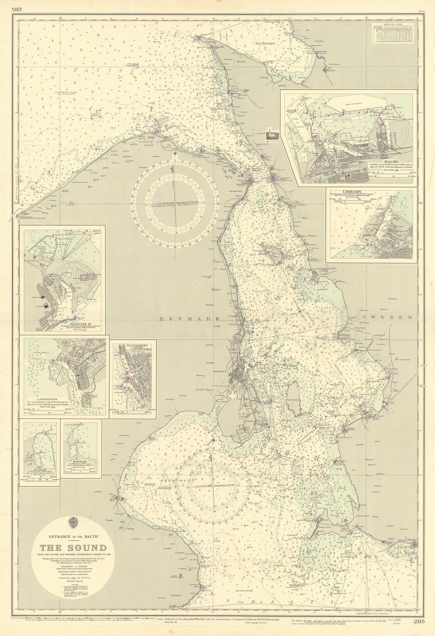 Oresund ports Baltic Malmӧ Copenhagen ADMIRALTY sea chart 1886 (1954) old map