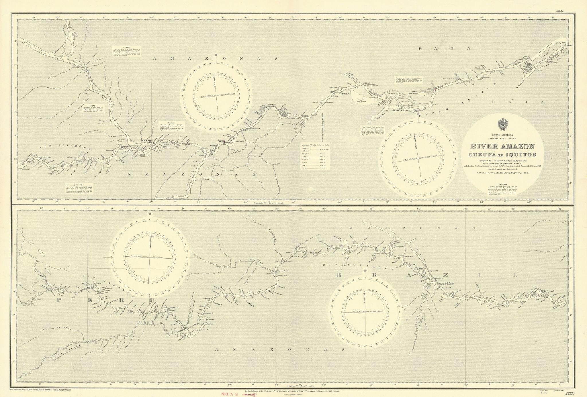 River Amazon. Gurupa - Iquitos. Brazil Peru. ADMIRALTY sea chart 1910 (1953) map