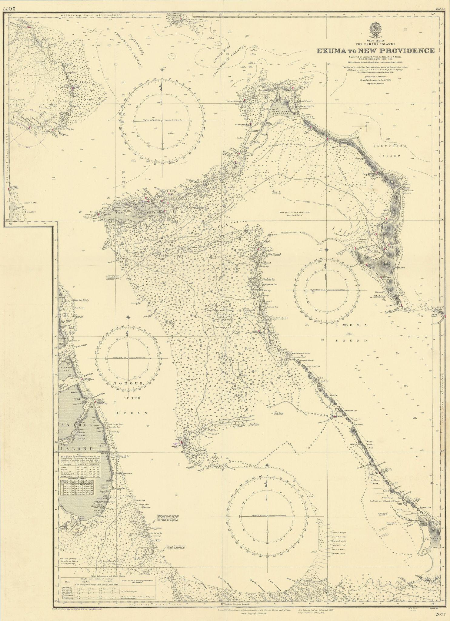 Bahamas Exuma Eleuthera New Providence Andros ADMIRALTY chart 1851 (1955) map