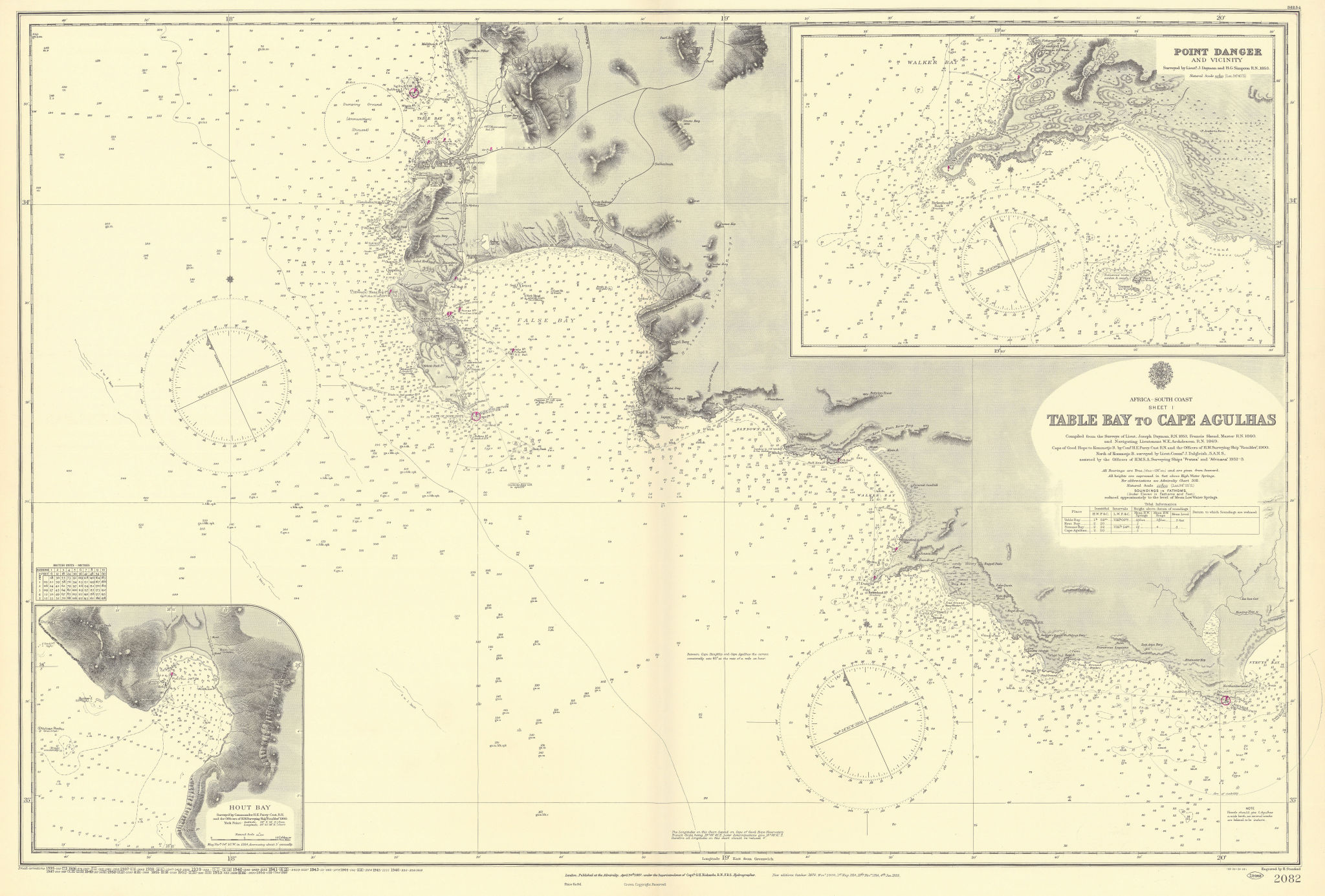 Cape Town Hout Table Bay Pt Danger South Africa ADMIRALTY chart 1867 (1954) map