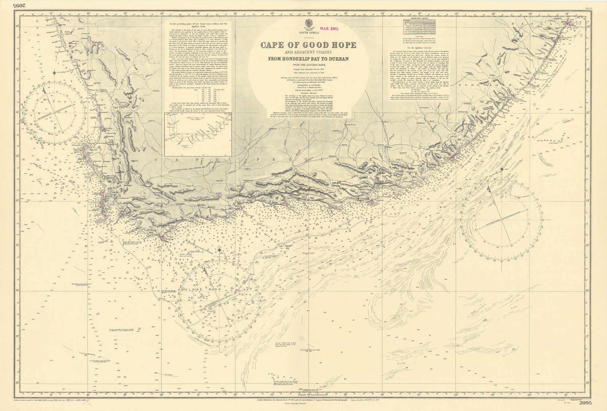 Cape of Good Hope coast South Africa ADMIRALTY sea chart 1867 (1953) old map