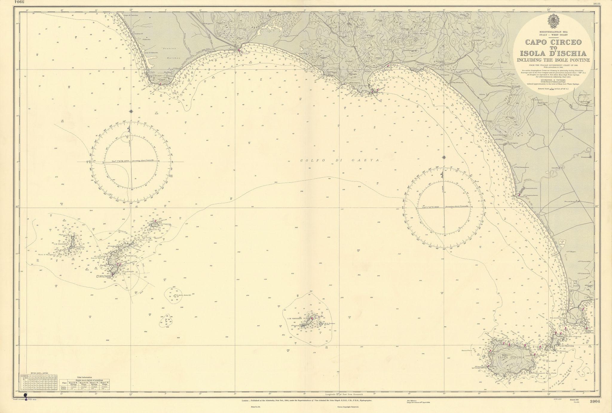 Golfo di Gaeta Capo Circeo Ischia Isole Ponziane ADMIRALTY chart 1944 (1955) map