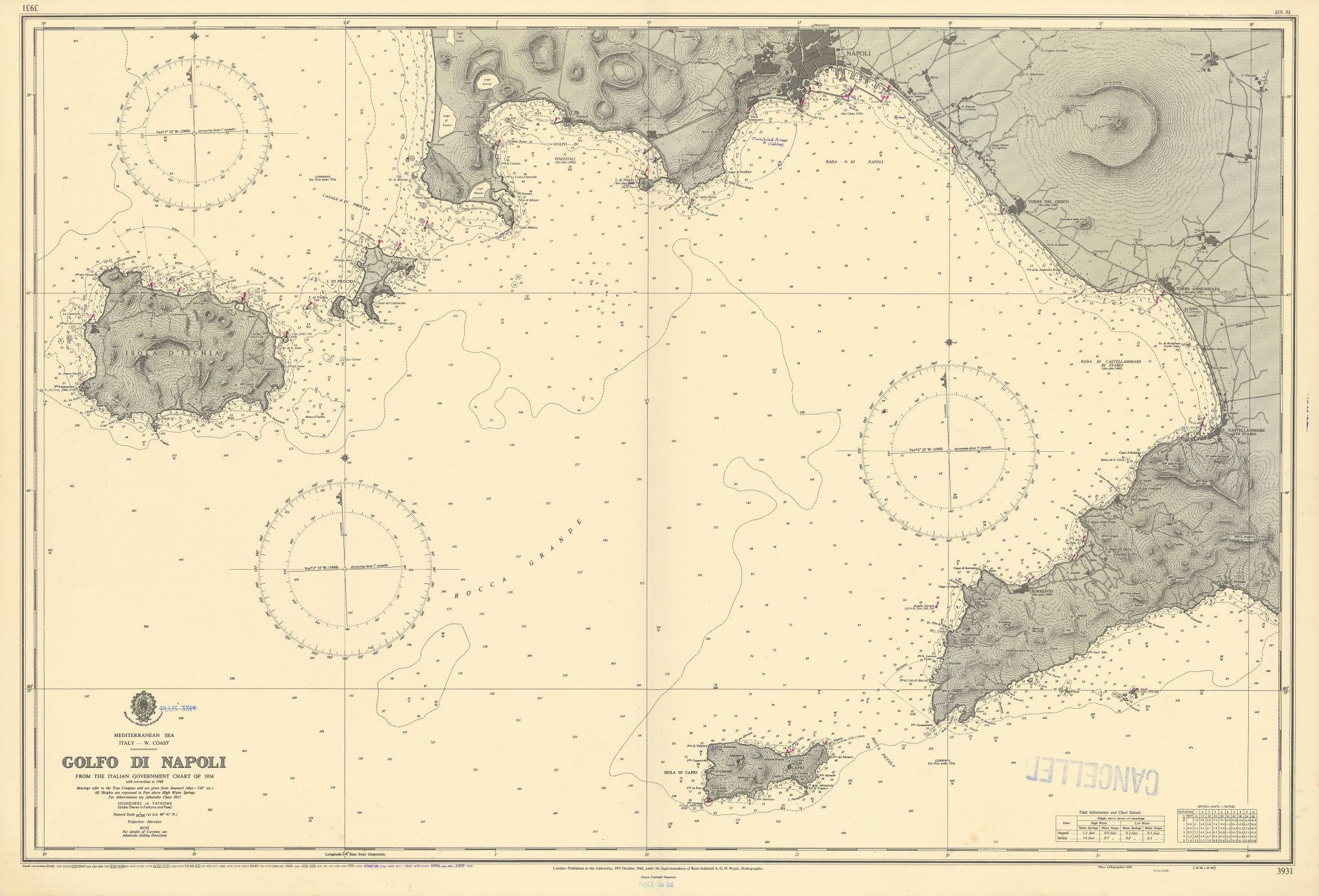 Golfo di Napoli Gulf Naples Ischia Capri Amalfi ADMIRALTY chart 1945 (1955) map