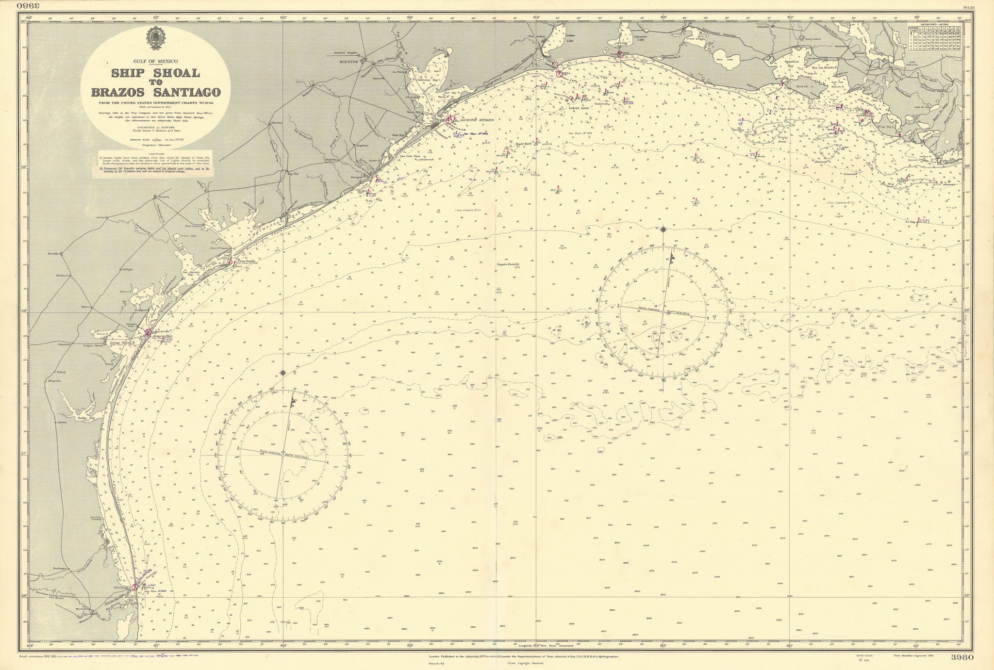 Texas & Louisiana coast. Gulf of Mexico. ADMIRALTY sea chart 1951 (1955) map