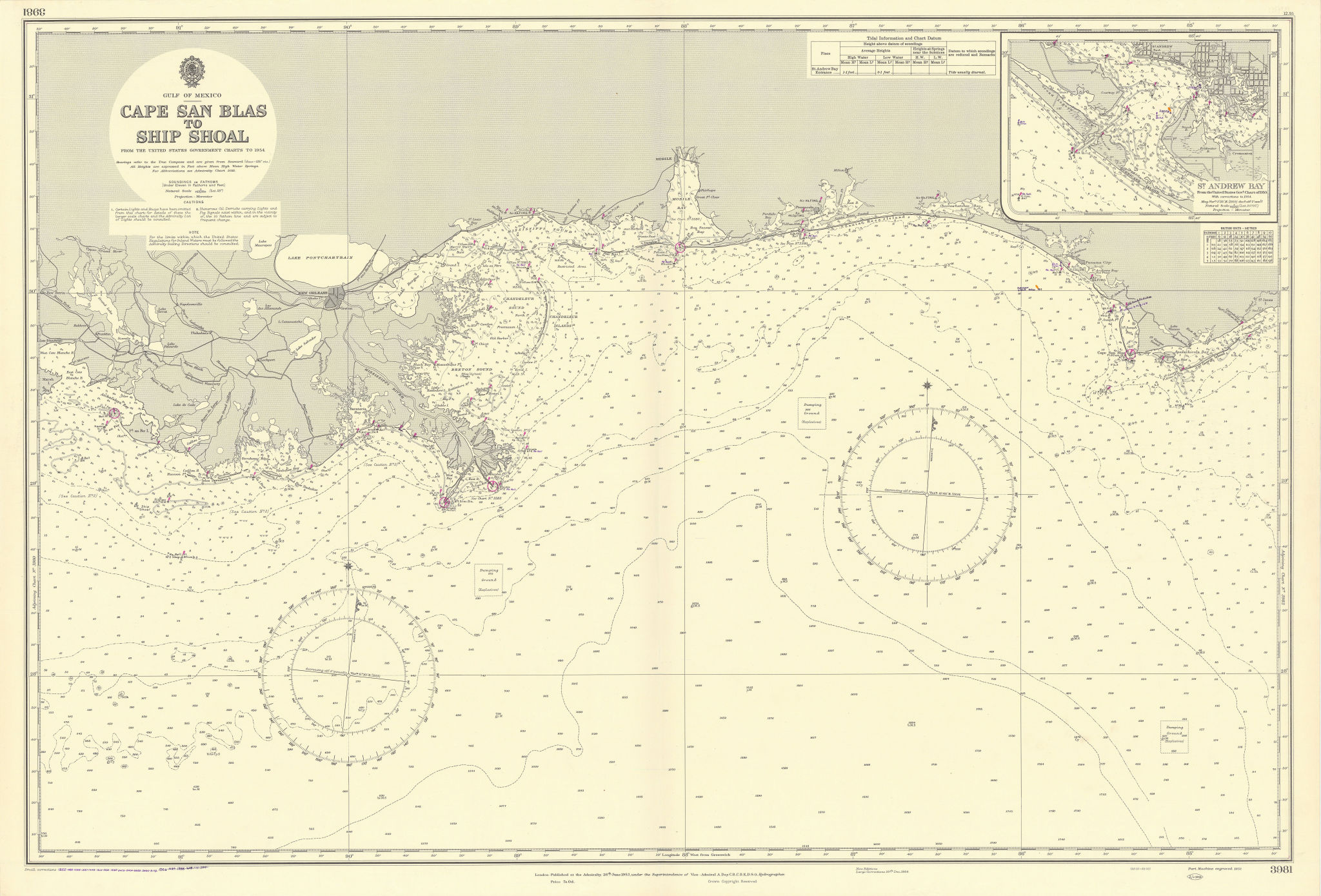 Louisiana Alabama Florida Gulf of Mexico ADMIRALTY sea chart 1953 (1956) map