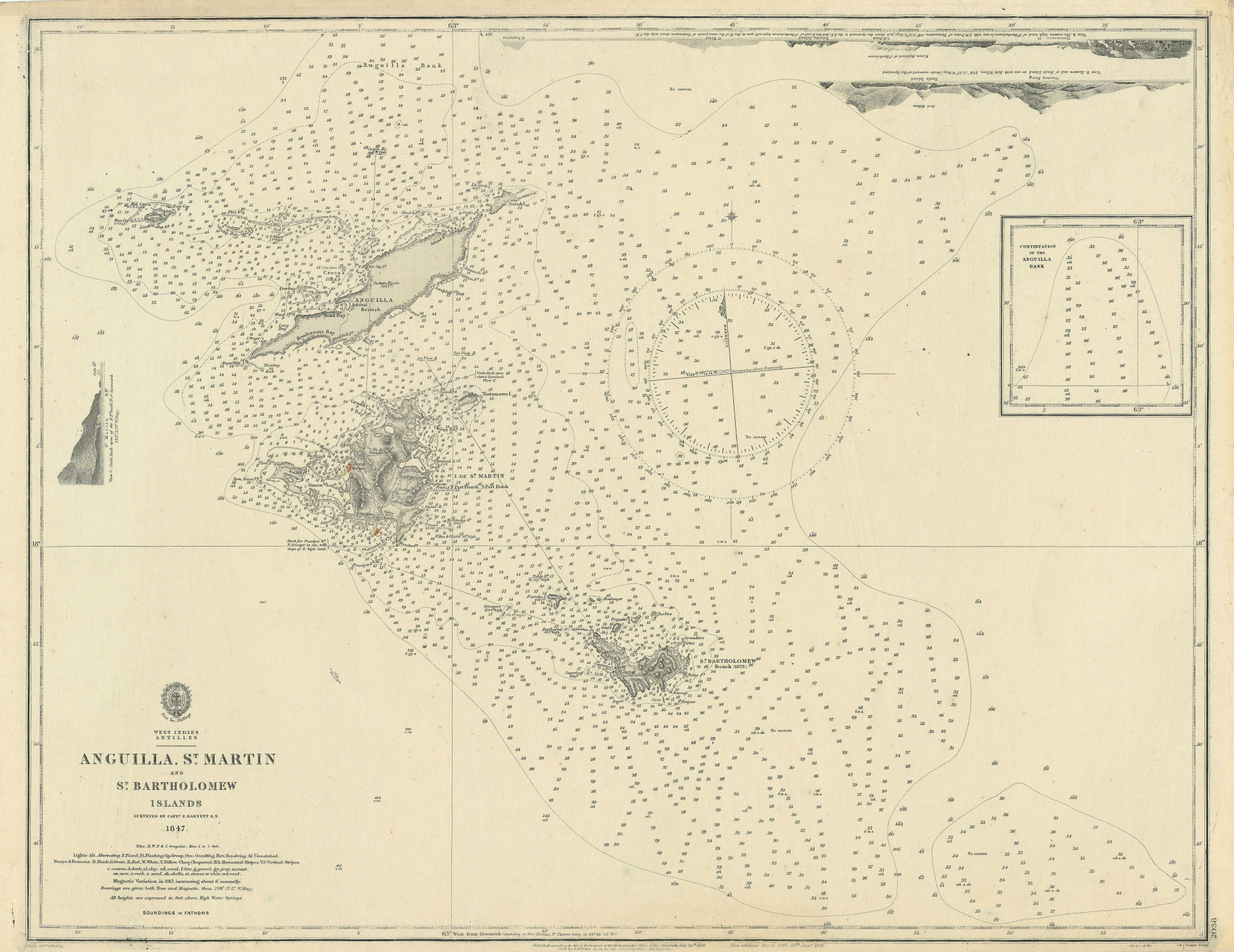 Antilles Anguilla St Martin Bartholomew Islands ADMIRALTY chart 1850 (1918) map