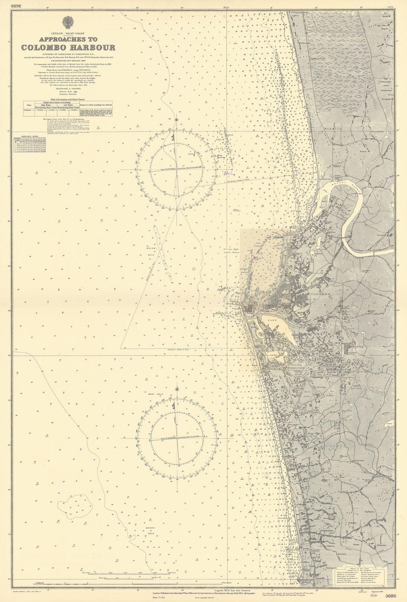Colombo Harbour approaches Ceylon Sri Lanka. ADMIRALTY sea chart 1908 (1956) map