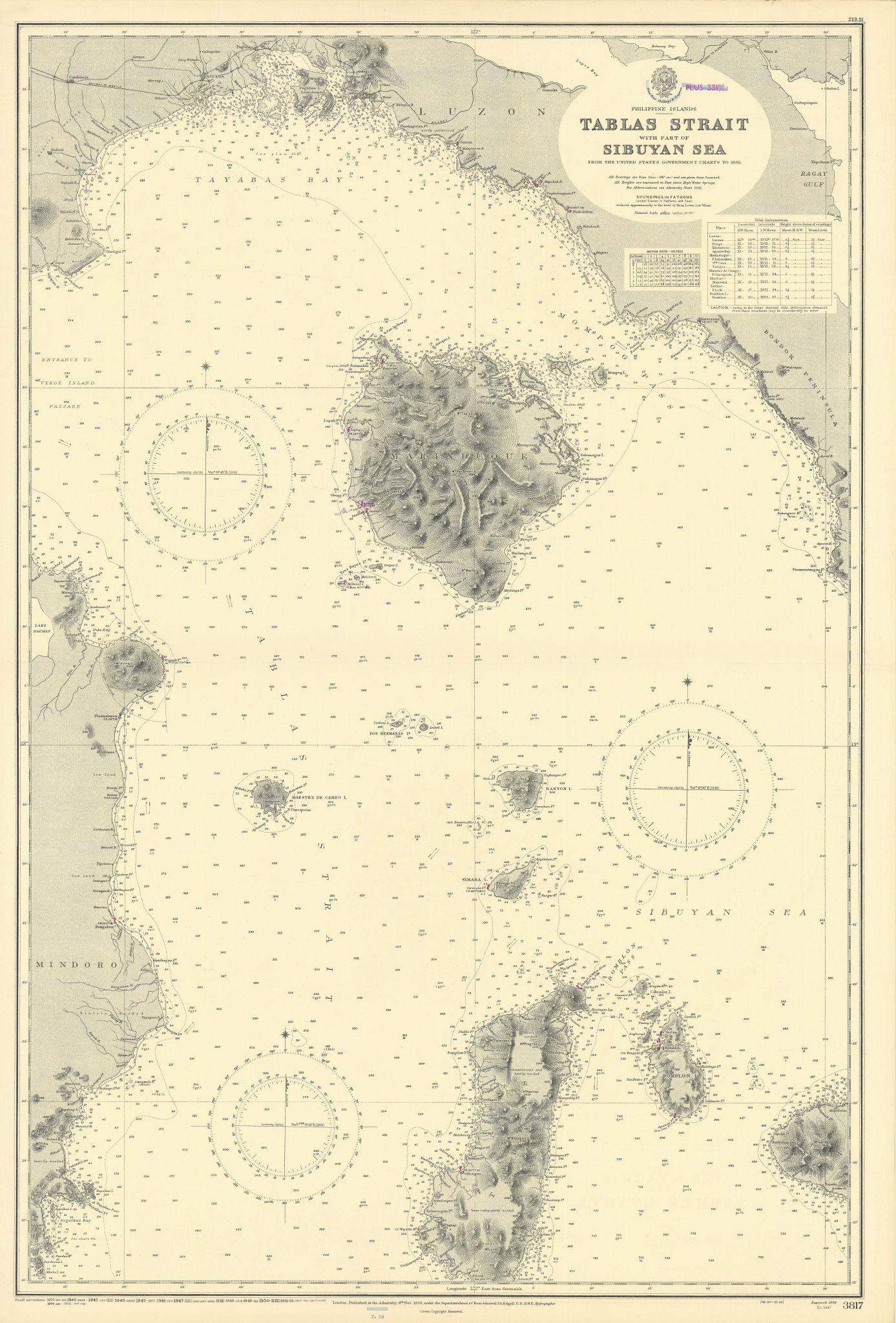 Philippines Tablas Luzon Mindoro Marinduque ADMIRALTY chart 1936 (1956) map