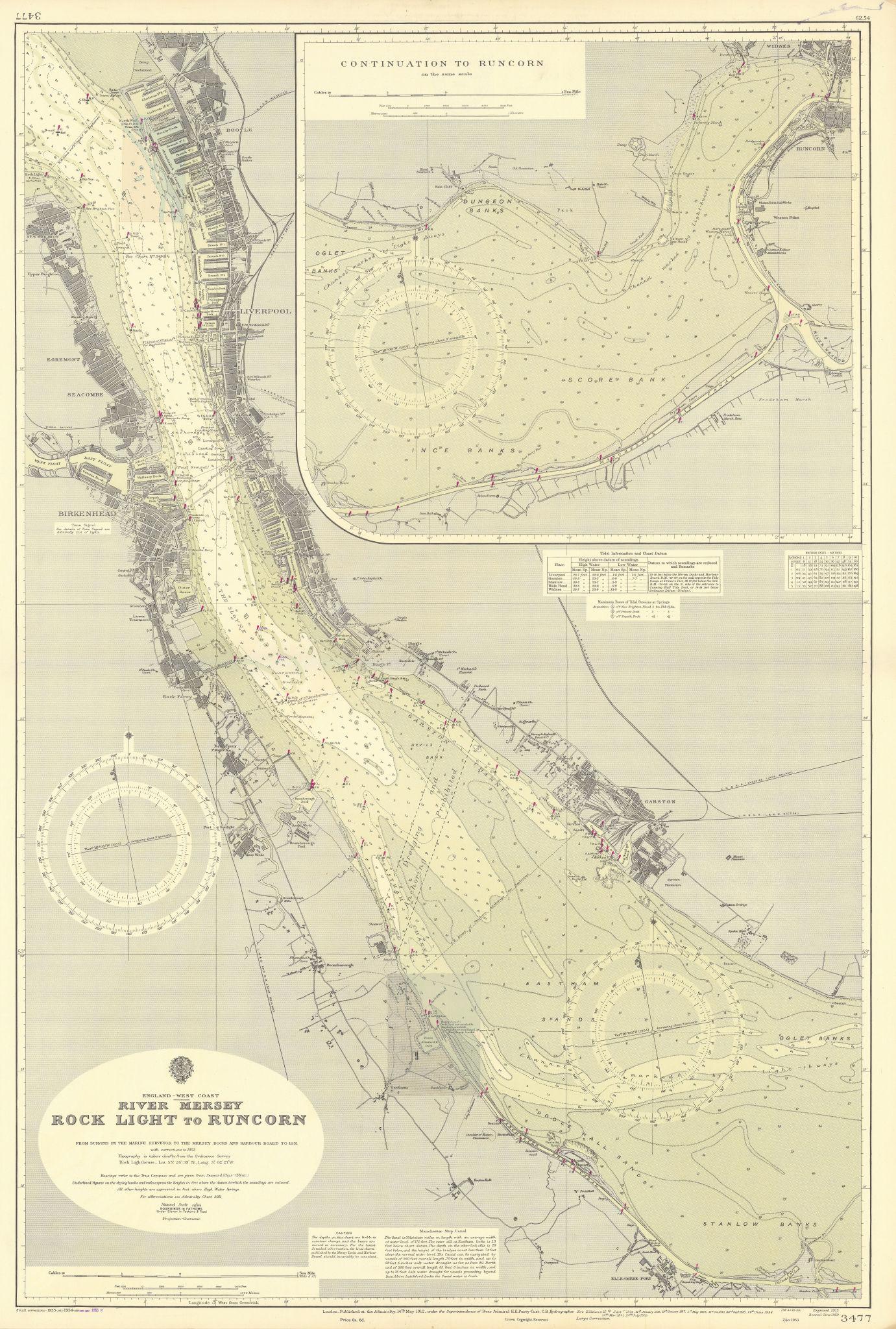 River Merseyside. Liverpool Birkenhead. ADMIRALTY sea chart 1912 (1955) map