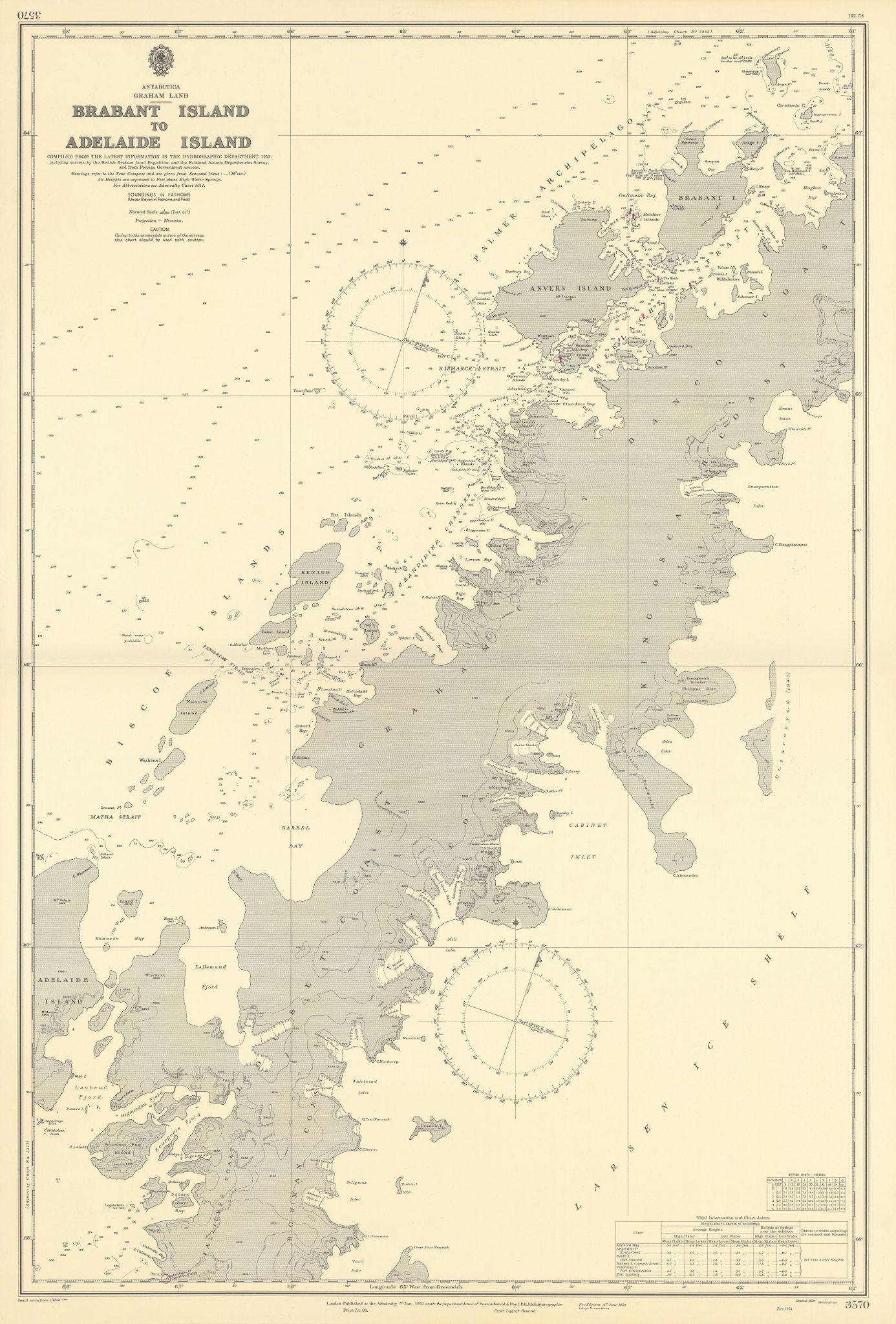 Antarctica Graham Land Brabant-Adelaide Island ADMIRALTY chart 1951 (1955) map
