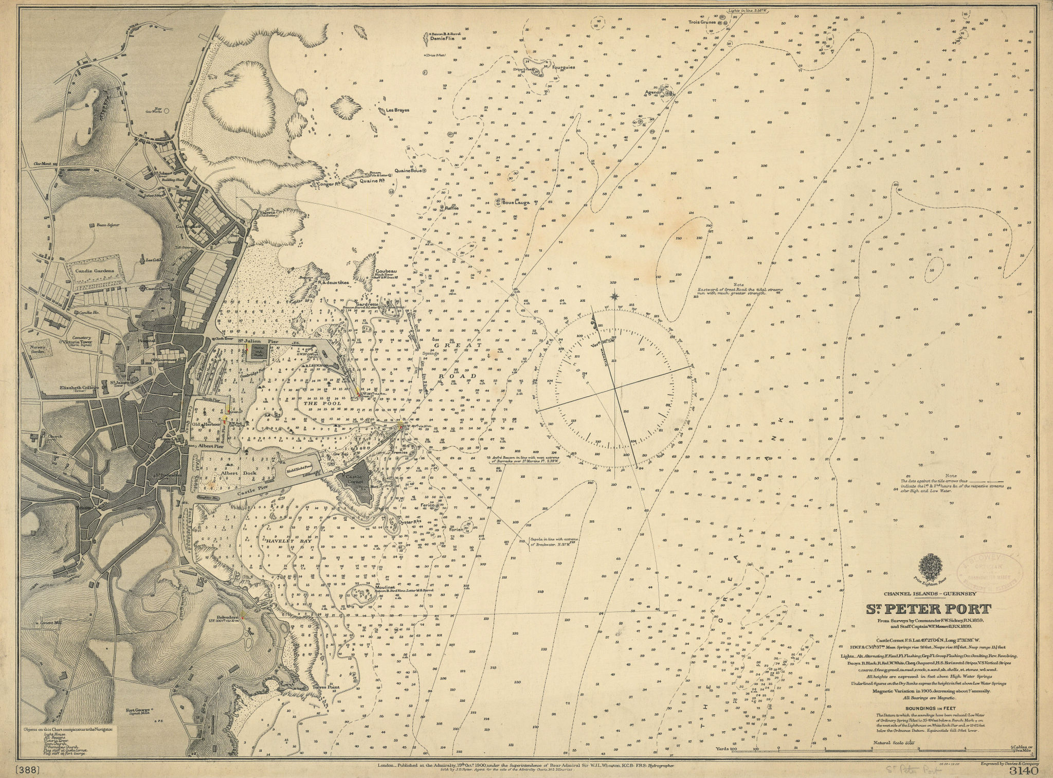 St. Peter Port, Guernsey, Channel Islands. ADMIRALTY sea chart 1900 old map