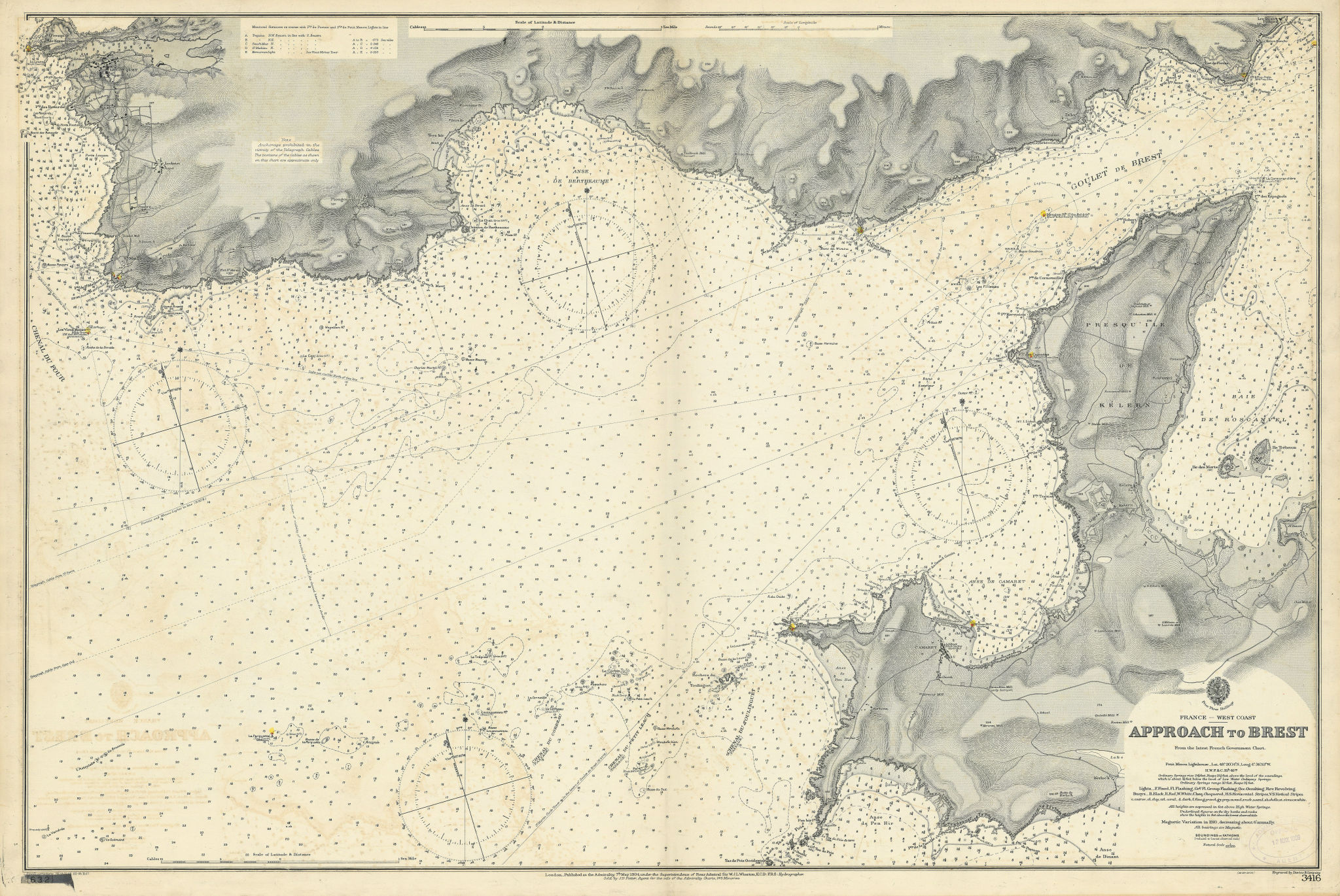Brest approaches. Finistère coast, France. ADMIRALTY sea chart 1904 (1907) map