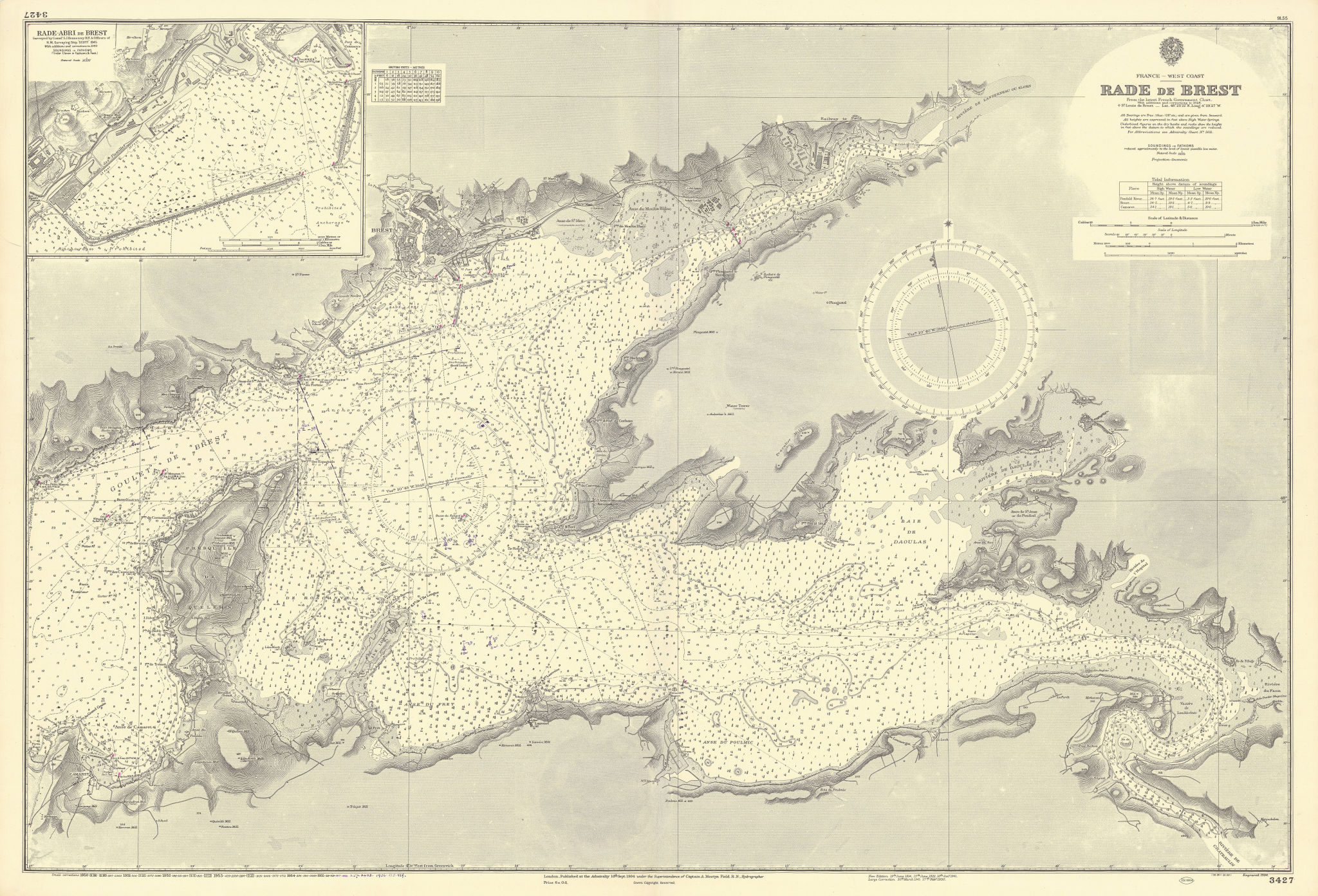 Brest Rade & Rade-Abri. Finistère, Brittany. ADMIRALTY sea chart 1904 (1956) map