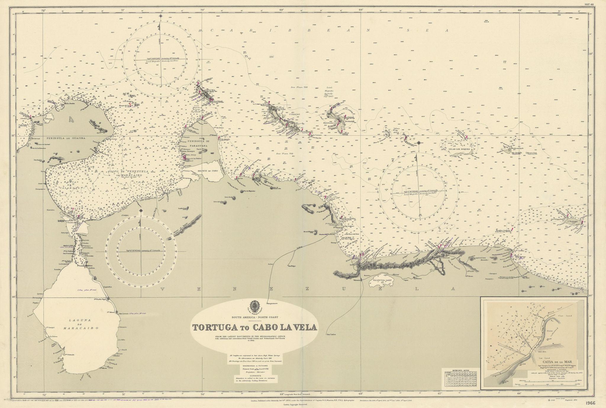Venezuela coast. Aruba Bonaire Curacao. ADMIRALTY sea chart 1894 (1955) map